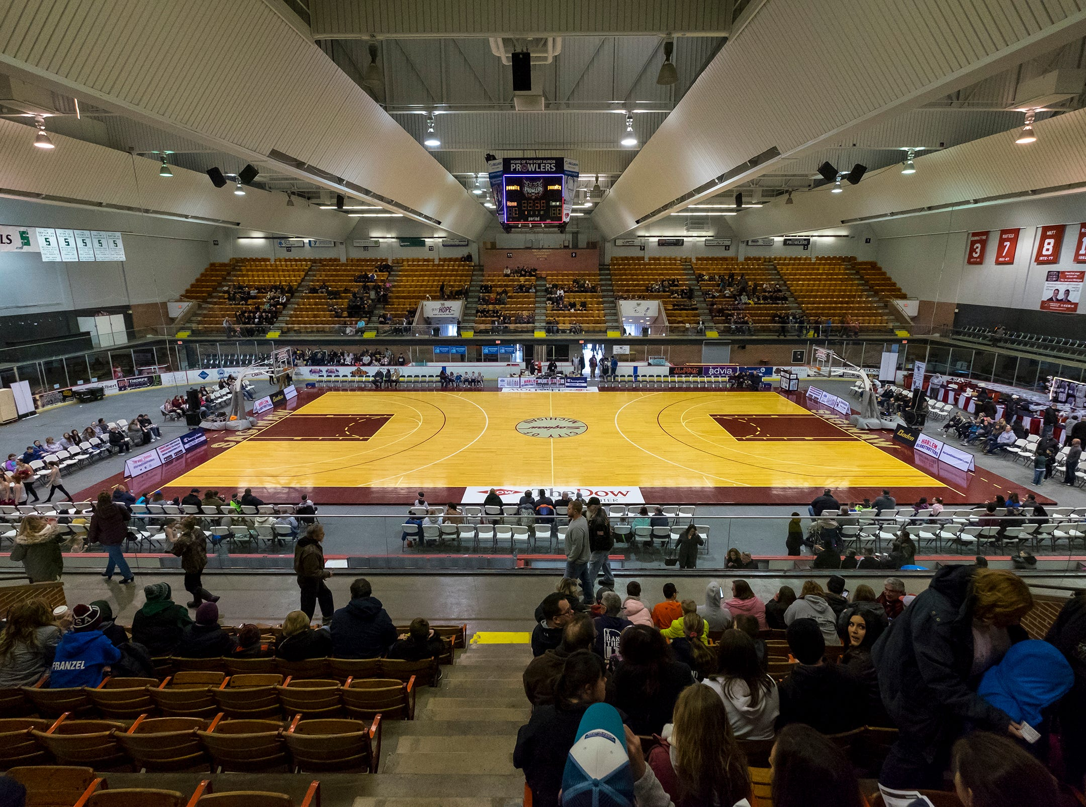 The ice arena inside McMorran Arena is converted into a basketball court Saturday, Feb. 2, 2019 before the Harlem Globetrotters taken on the Washington Generals.