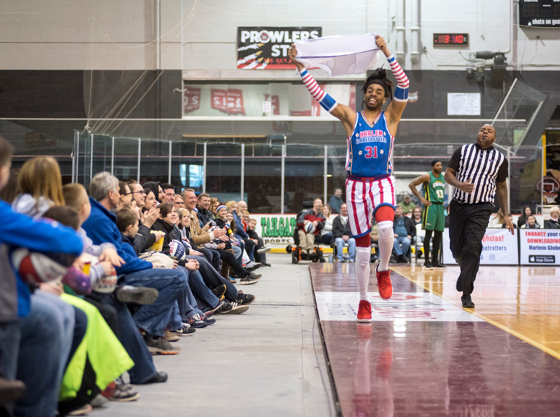Hammer The Harlem Globetrotters entertain a crowd while they take on the Washington Generals Saturday, Feb. 2, 2019 at McMorran Arena in Port Huron.