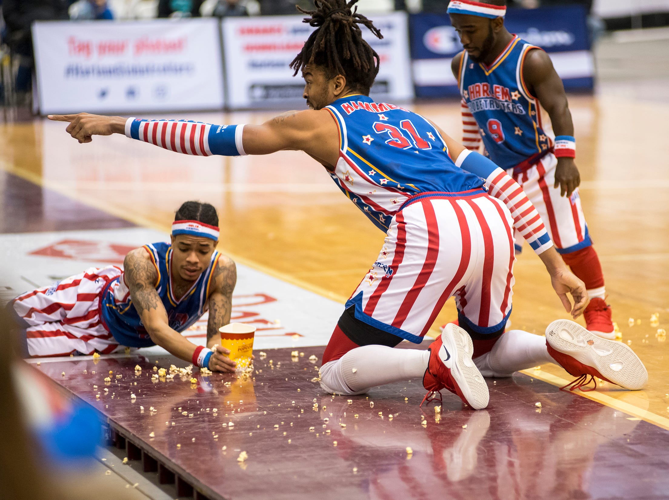 The Harlem Globetrotters entertain a crowd while they take on the Washington Generals Saturday, Feb. 2, 2019 at McMorran Arena in Port Huron.