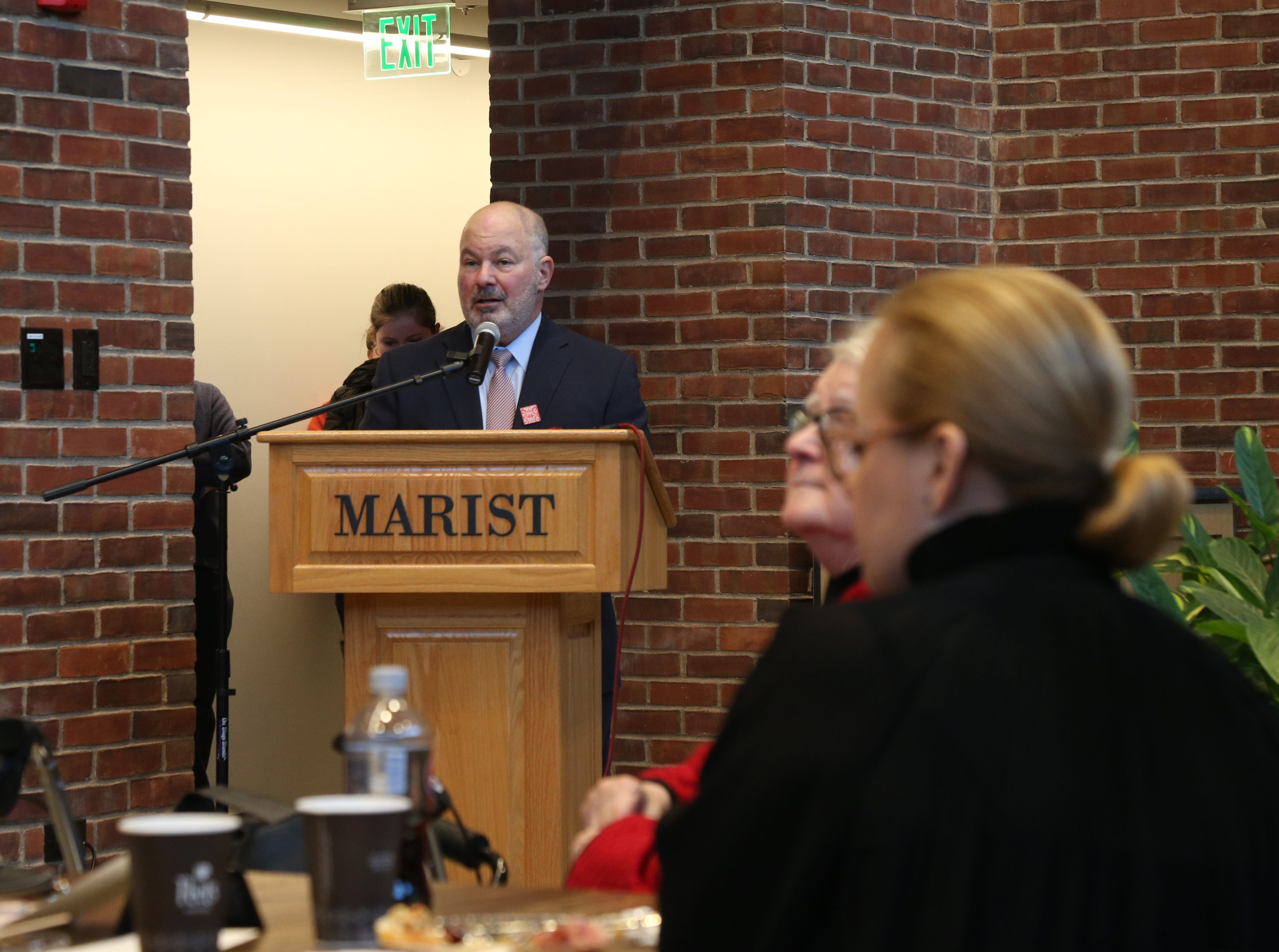 Marist College president David Yellen speaks during Friday's tour of the Steel Plant Studios in Poughkeepsie on February 1, 2019.