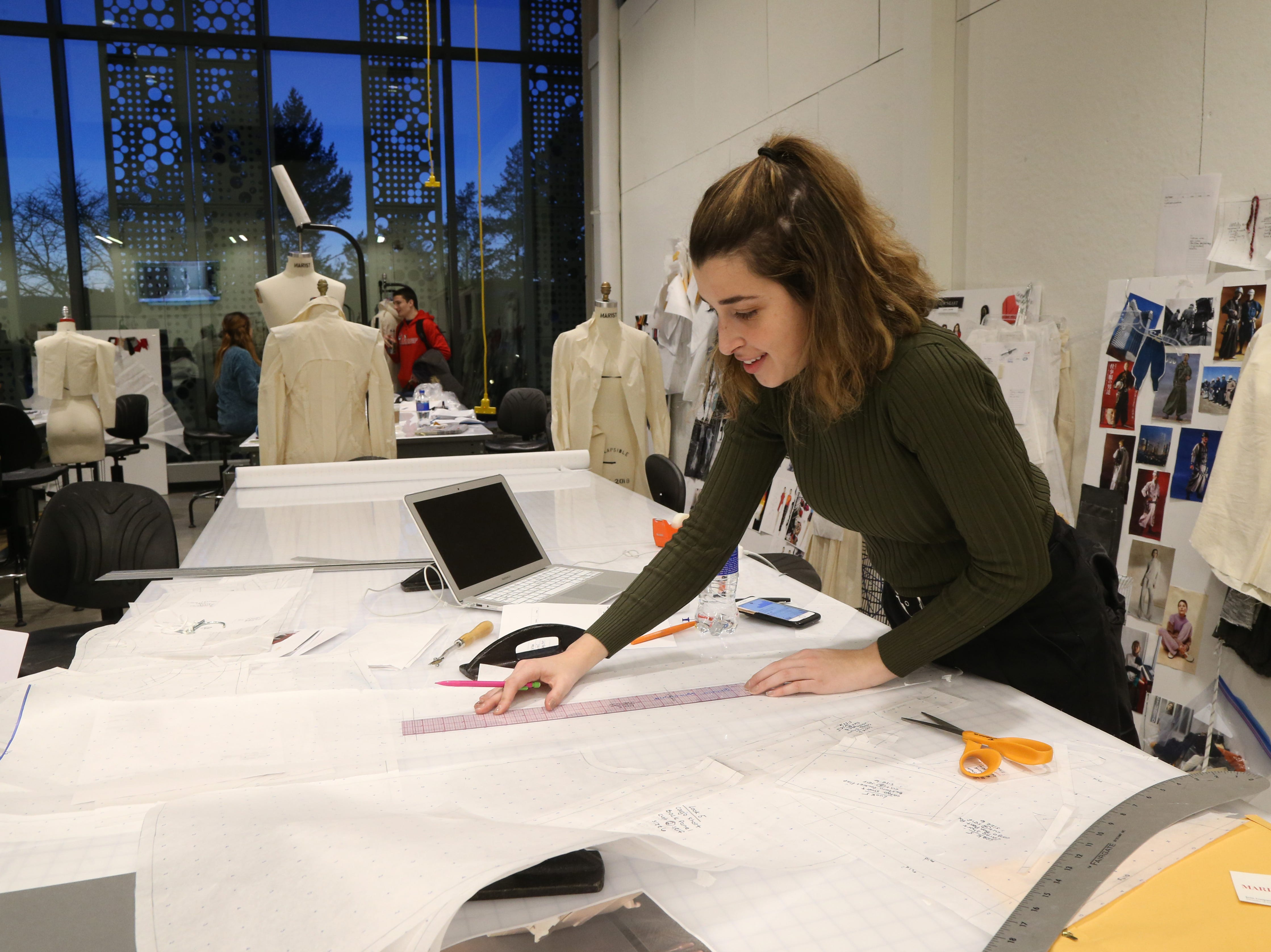 Marist fashion student JJoanna Musacchhia of Dix Hills works on a sewing pattern in one of the fashion design studios at Marist College's Steel Plant Studios in Poughkeepsie on February 1, 2019.