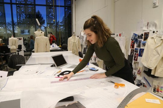 Marist fashion student Joanna Musacchhia of Dix Hills works on a sewing pattern in one of the fashion design studios at Marist College's Steel Plant Studios in Poughkeepsie on February 1, 2019.