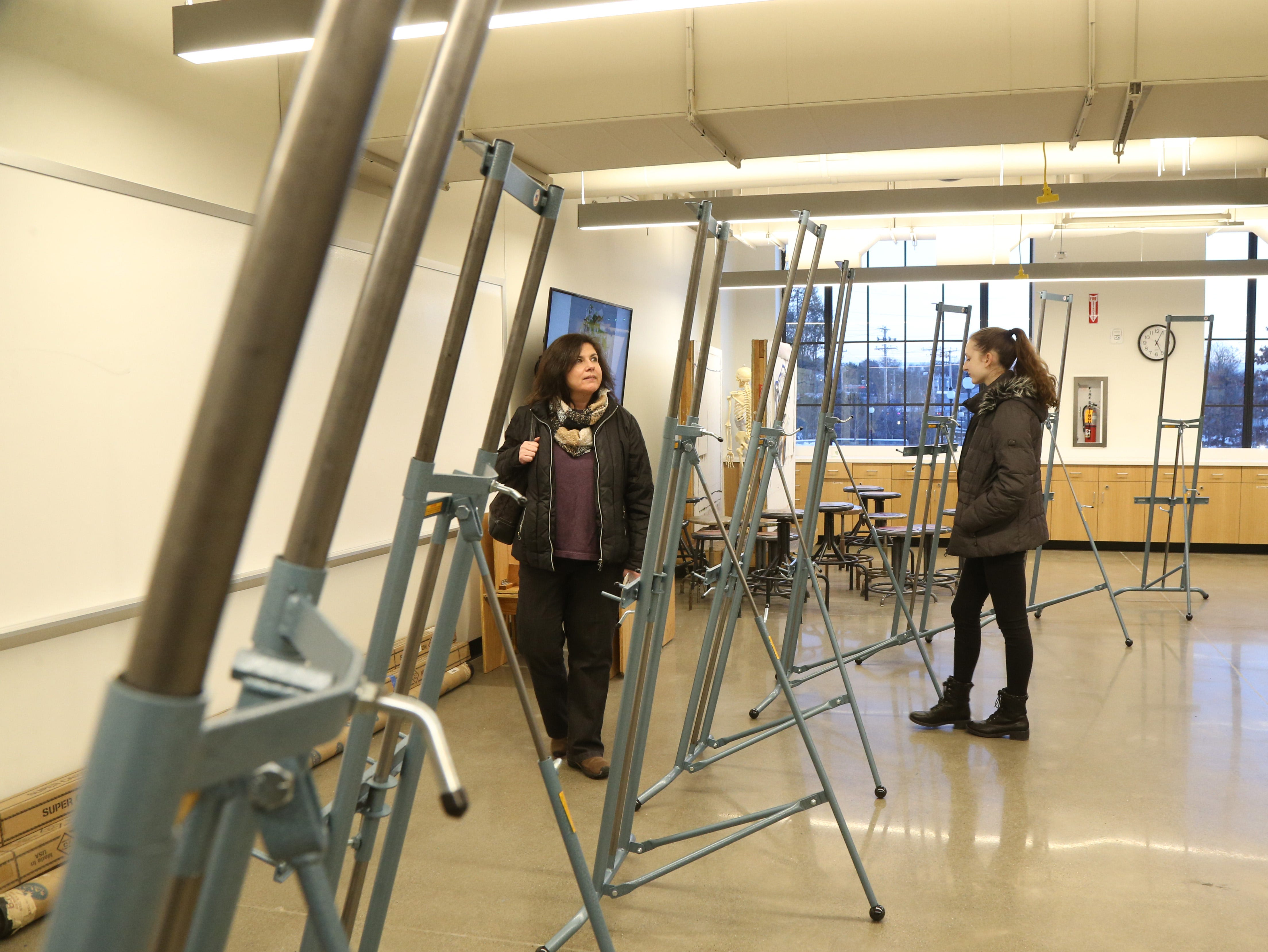 From left, Patrice and Megan Bower of Goshen explore the painting studio at Marist College's Steel Plant Studios in Poughkeepsie on February 1, 2019. Megan is planning to attend Marist College in the fall.
