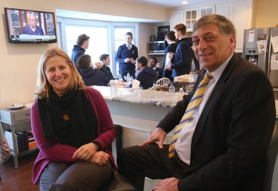 Lourdes boys basketball coach Jim Santoro with his wife, Lynn host the team to a pre-game meal at their home in the Town of Poughkeepsie on February 1, 2019.