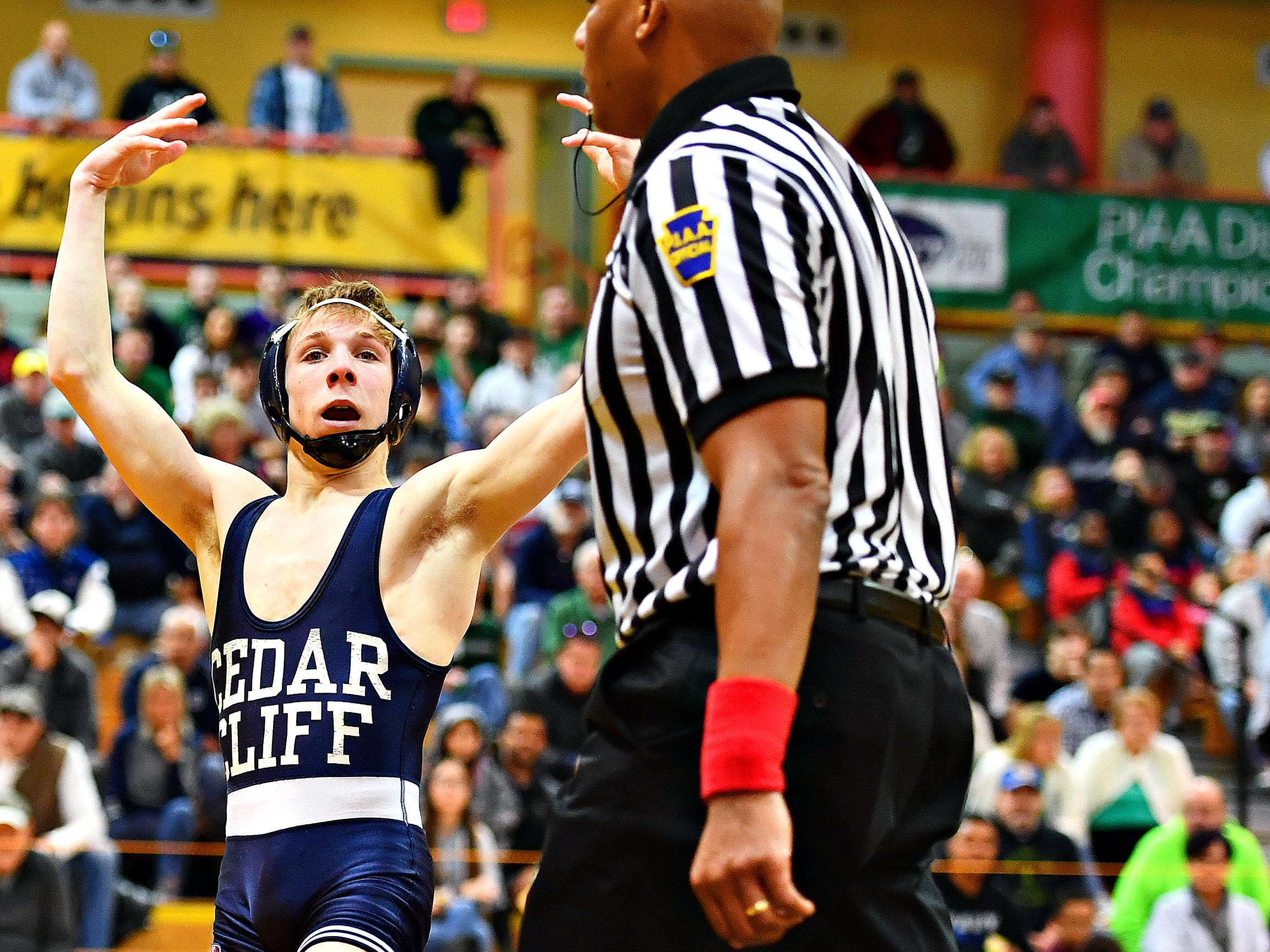 Cedar Cliff's Cole Baer, left, wins over Dallastown's Adam Karlie in the 113 pound weight class during District 3, Class 3A wrestling championship action at Milton Hershey High School in Hershey, Saturday, Feb. 2, 2019. Dawn J. Sagert photo