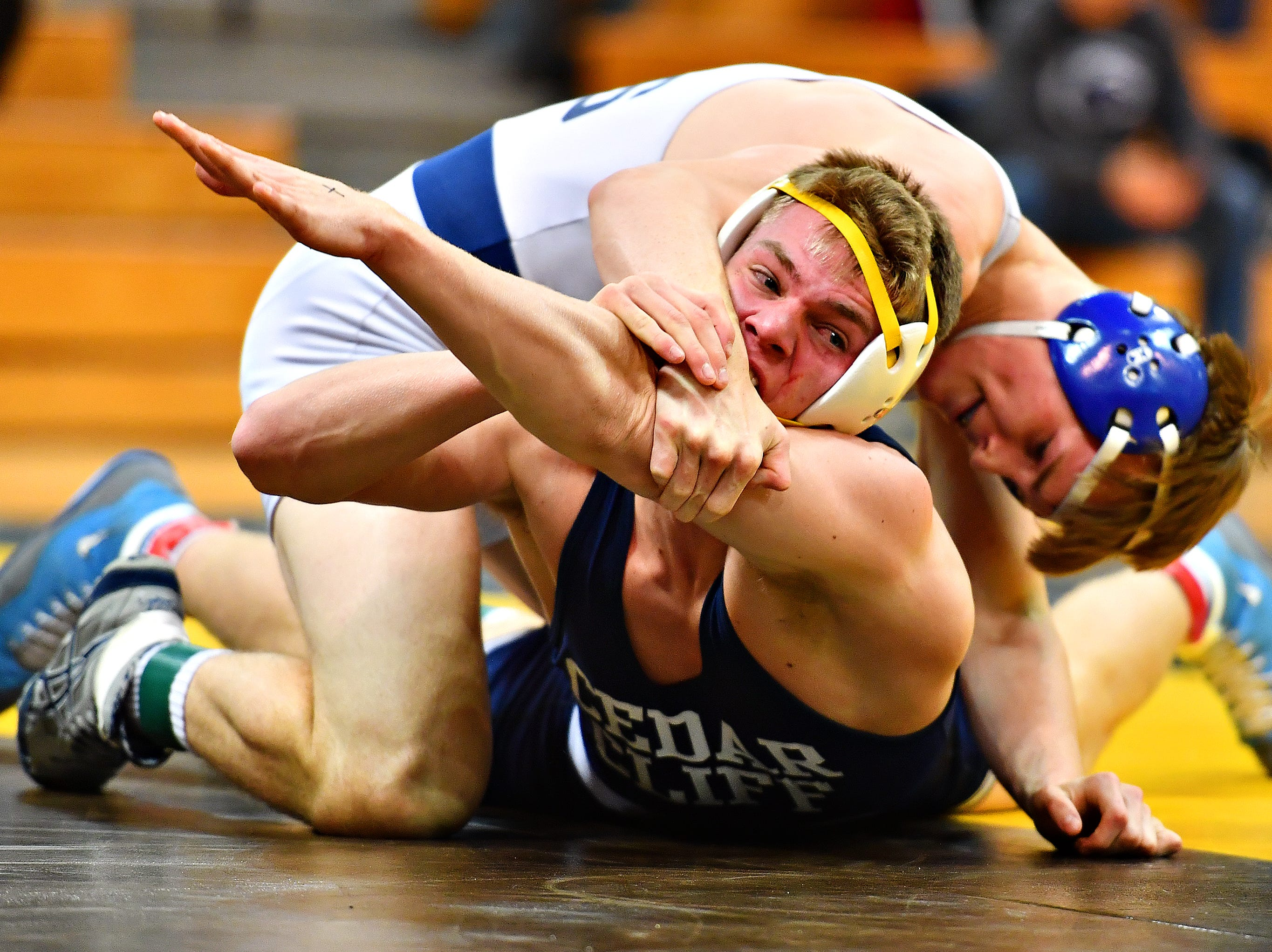 Dallastown's John Ligon, top, wrestles Cedar Cliff's Bobby Whalen in the 160 pound weight class during District 3, Class 3A wrestling championship action at Milton Hershey High School in Hershey, Saturday, Feb. 2, 2019. Dawn J. Sagert photo