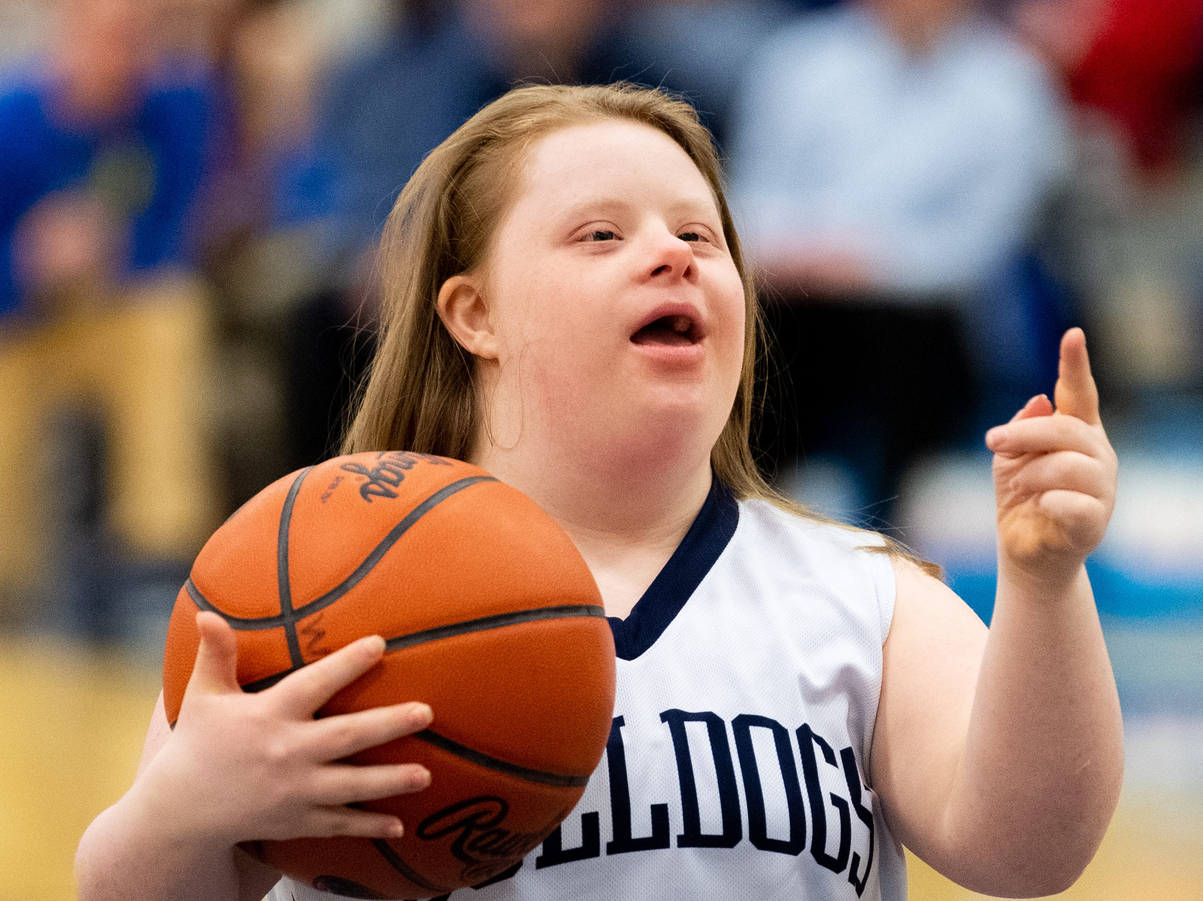 On February 1, 2019, West York recognized Katie Kniery (34), a junior varsity player with down syndrome, during the girls' basketball game between West York and Dover. She took the first shots of the half.