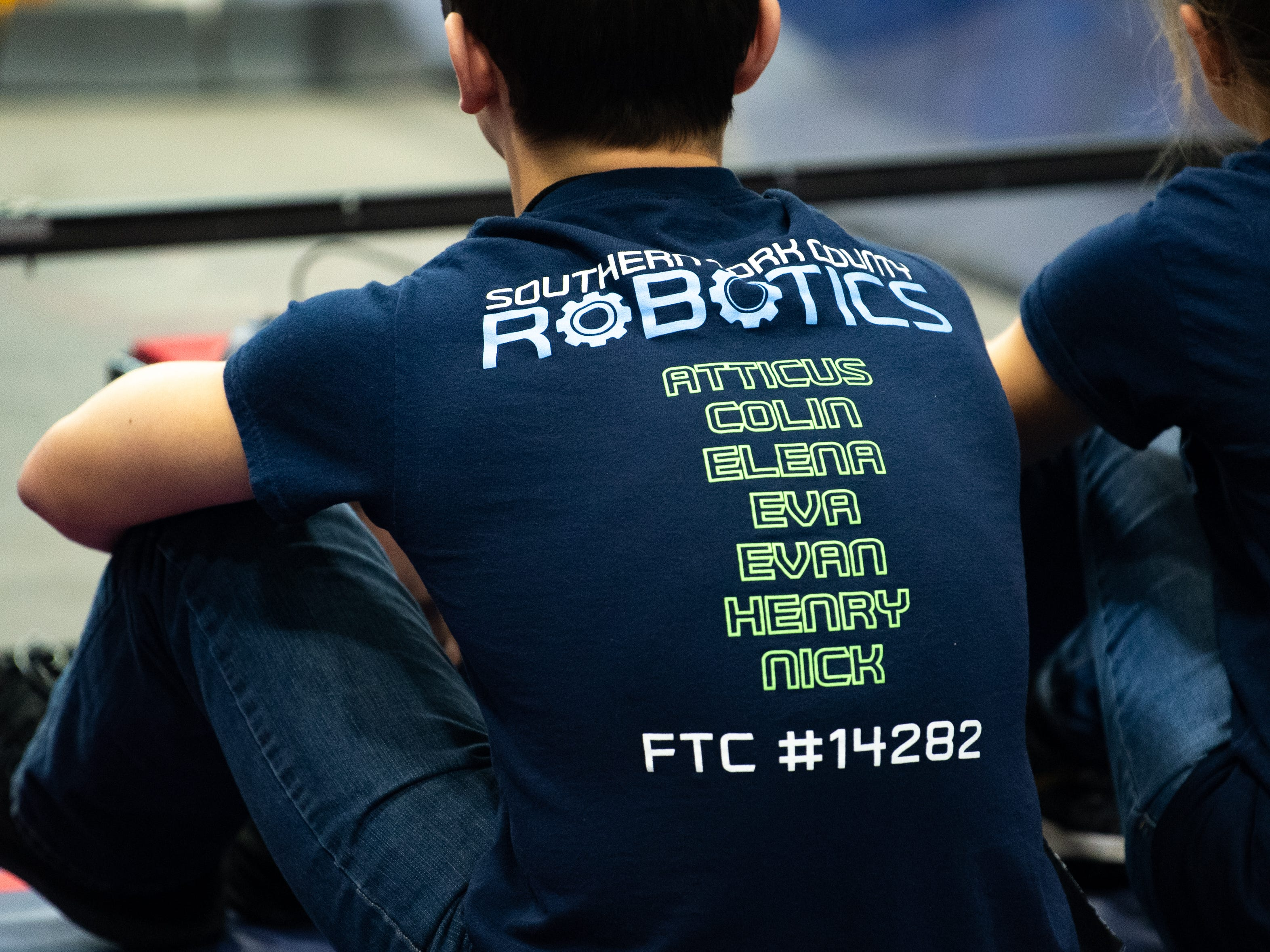 Every team has matching t-shirts that they wear with pride during the First Tech Challenge robotics competition at Penn State York, February 2, 2019.