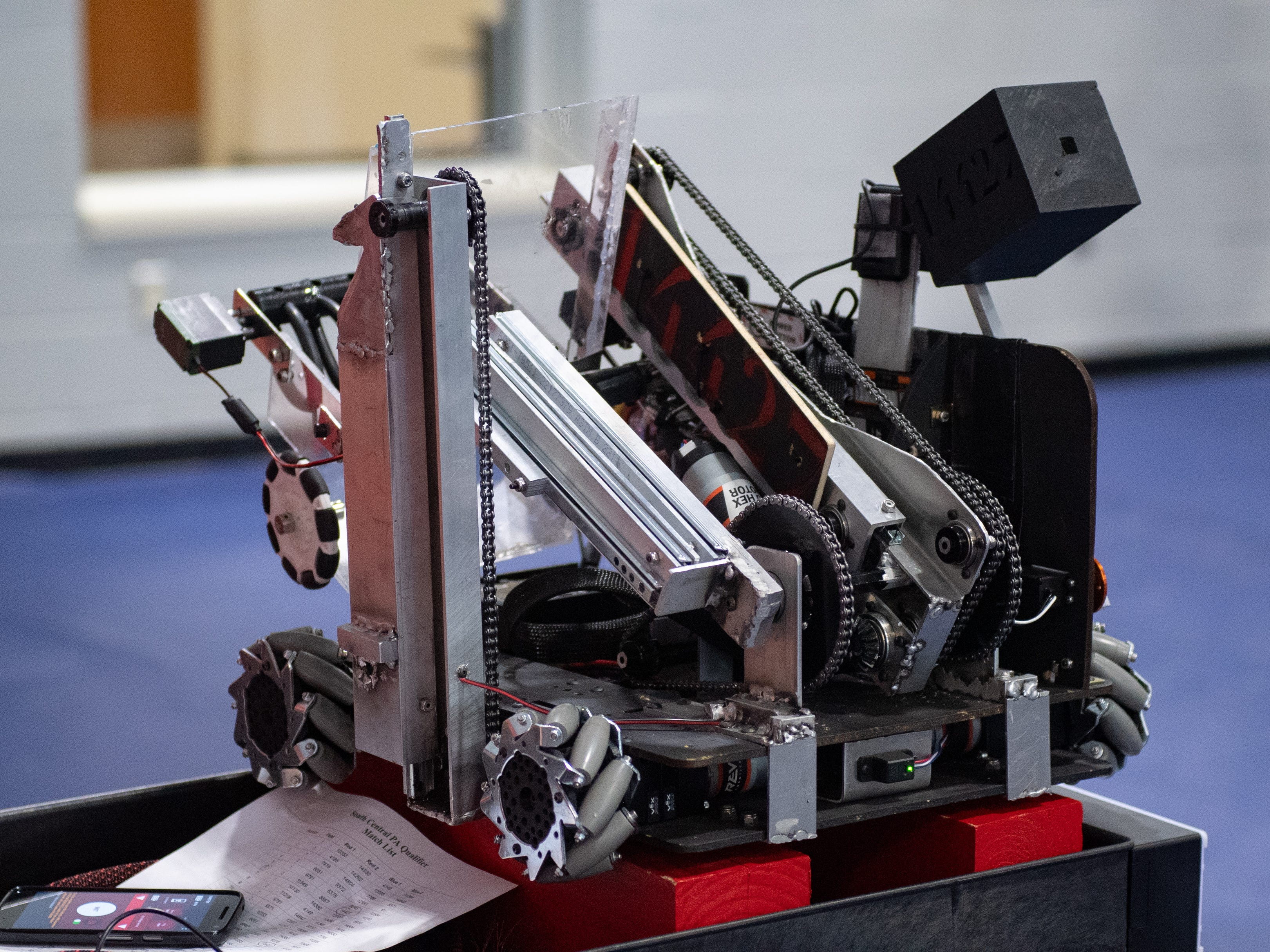 Along with the matches, teams must give their robot designs, engineering notebooks and a summary of their outreach efforts off the field, to the judges as well during the First Tech Challenge robotics competition, February 2, 2019.