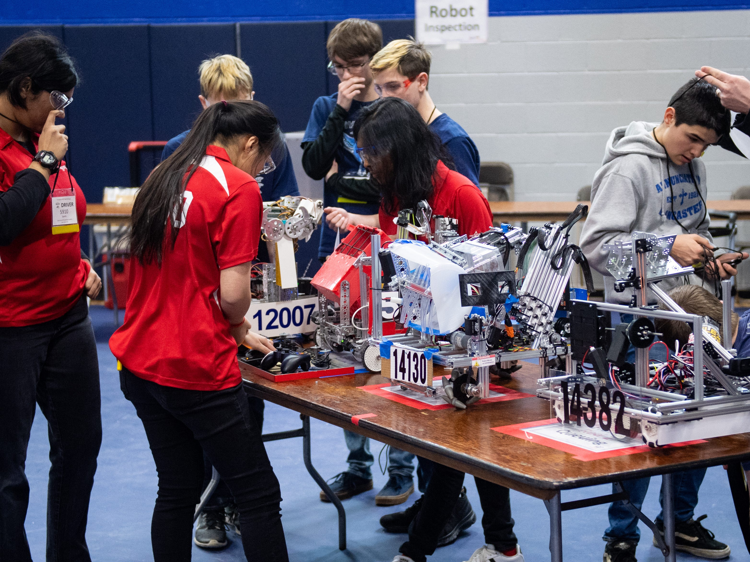 The robotics competition lasts two days and features 54 teams of middle and high school students, February 2, 2019.