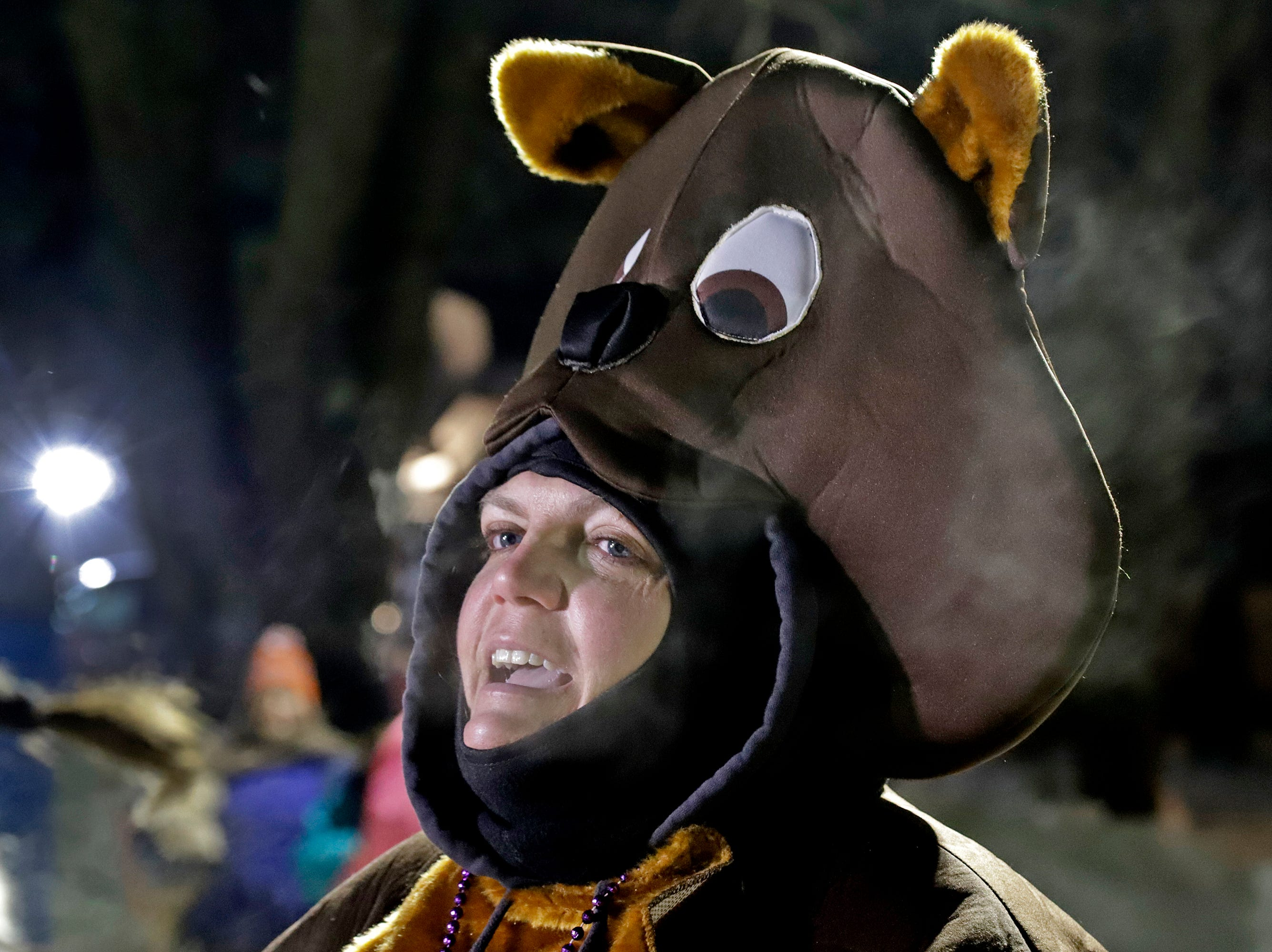 Katie Wolf of New Cumberland, Pa., wears a groundhog costume to the 133rd Groundhog Day celebration on Gobbler's Knob in Punxsutawney, Pa. Saturday, Feb. 2, 2019. (AP Photo/Gene J. Puskar)