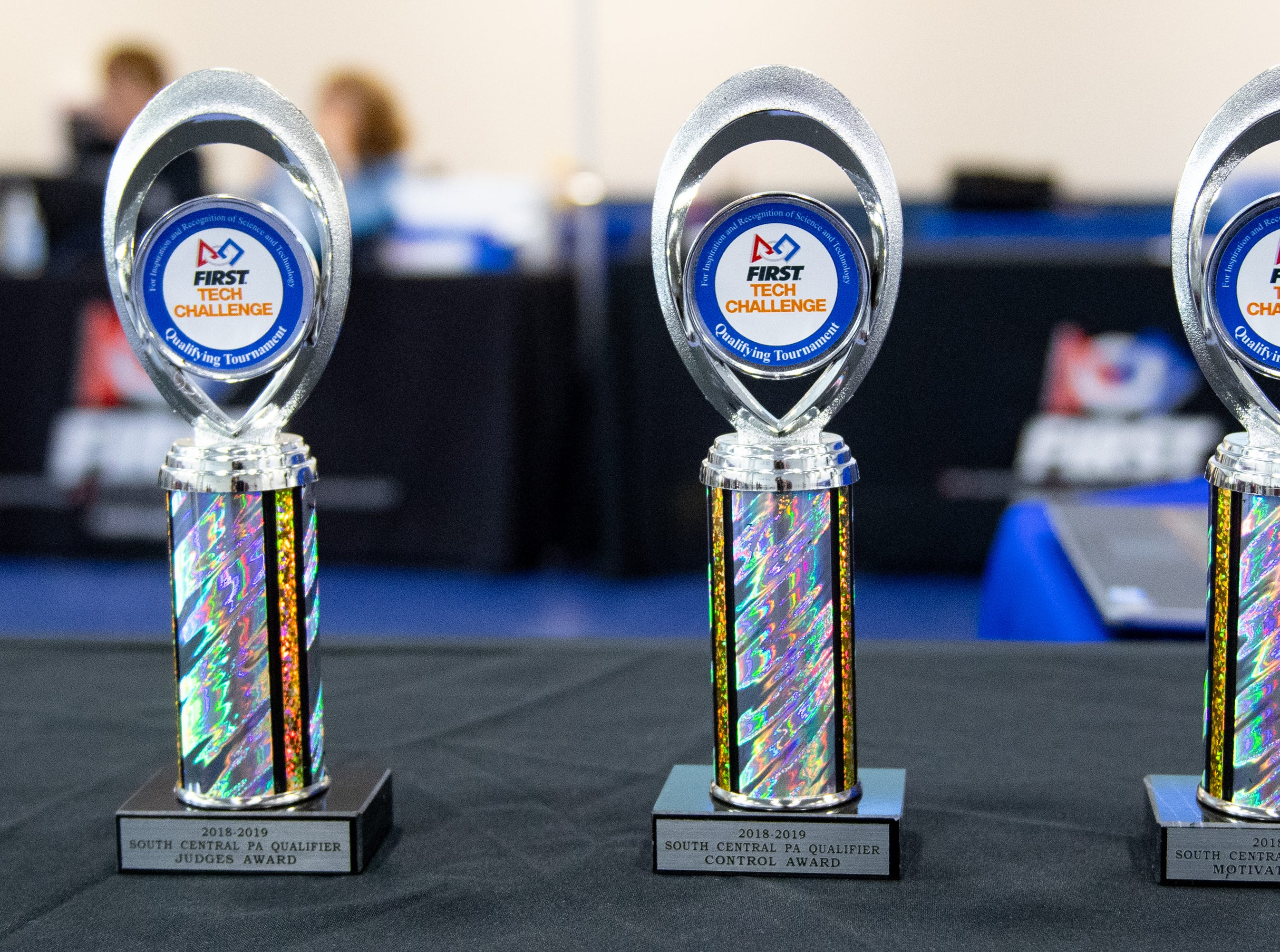 The five winning teams of the First Tech Challenge robotics competition Qualifiers receive trophies and advance to the Pennsylvania State Championship, held in March 2019.