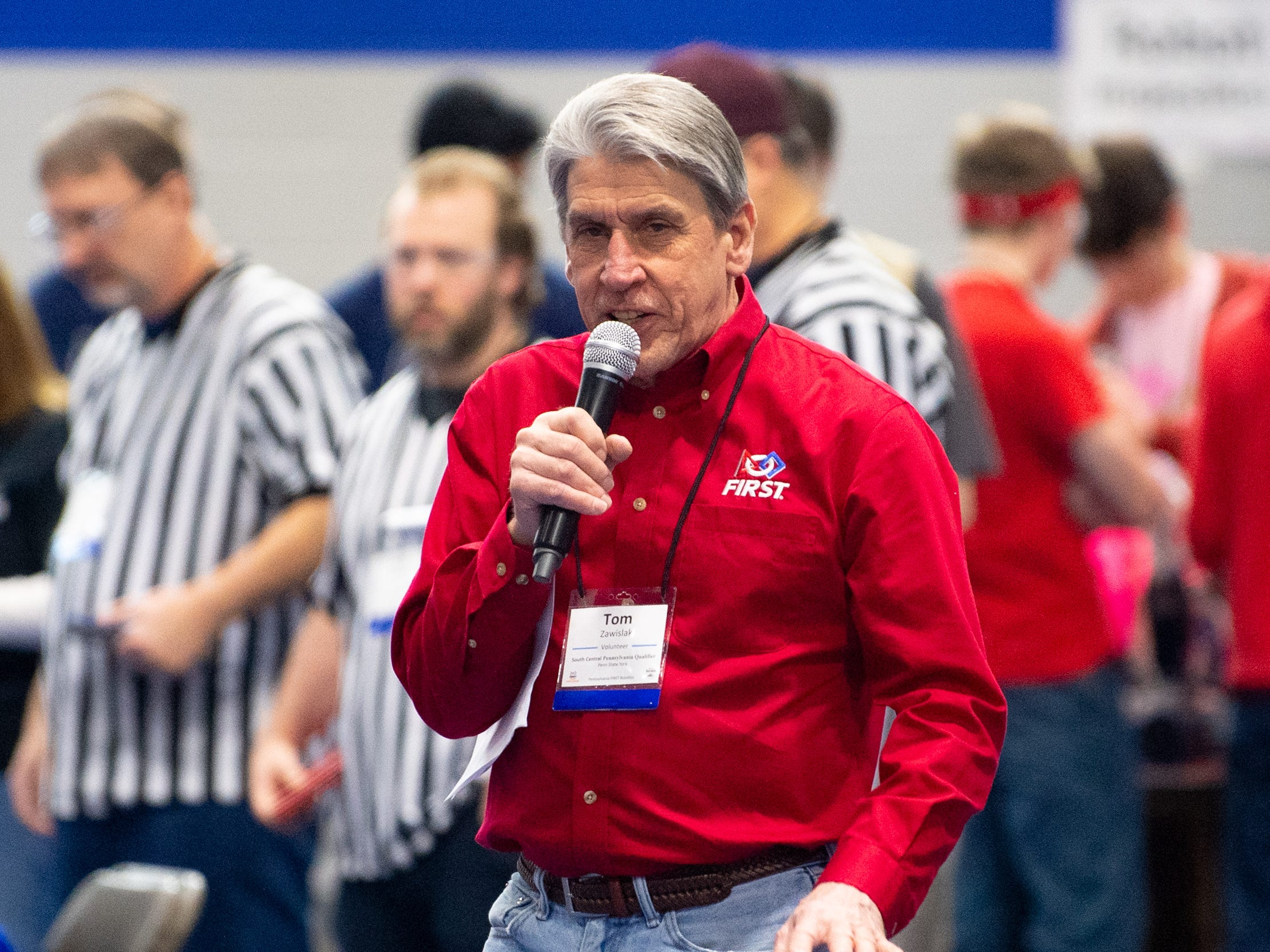 In the open ceremony, Tom Zawislak welcomes everyone to the First Tech Challenge robotics competition at Penn State York, February 2, 2019.