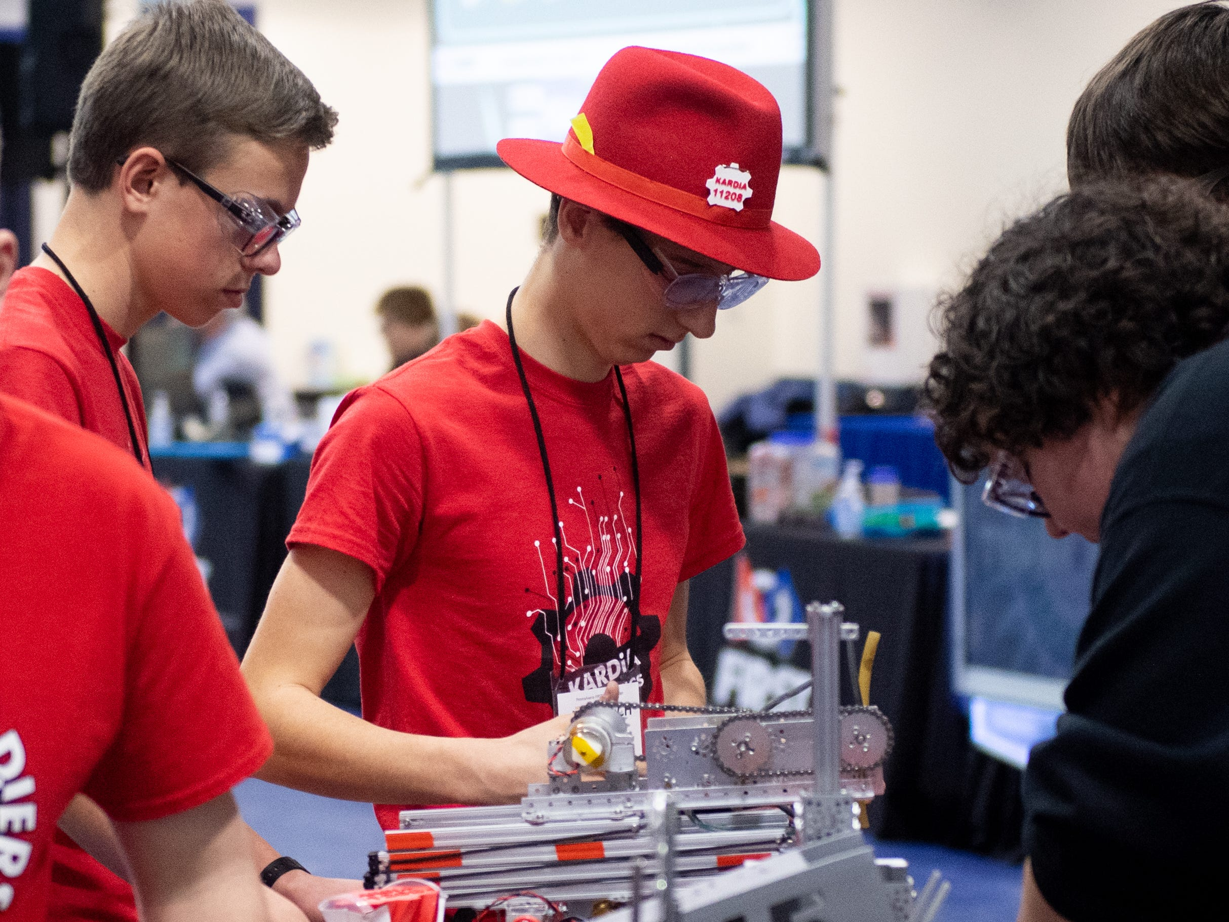 Before robots are allowed in the ring, they must be inspected and cleared by officials at the First Tech Challenge robotics competition, February 2, 2019.
