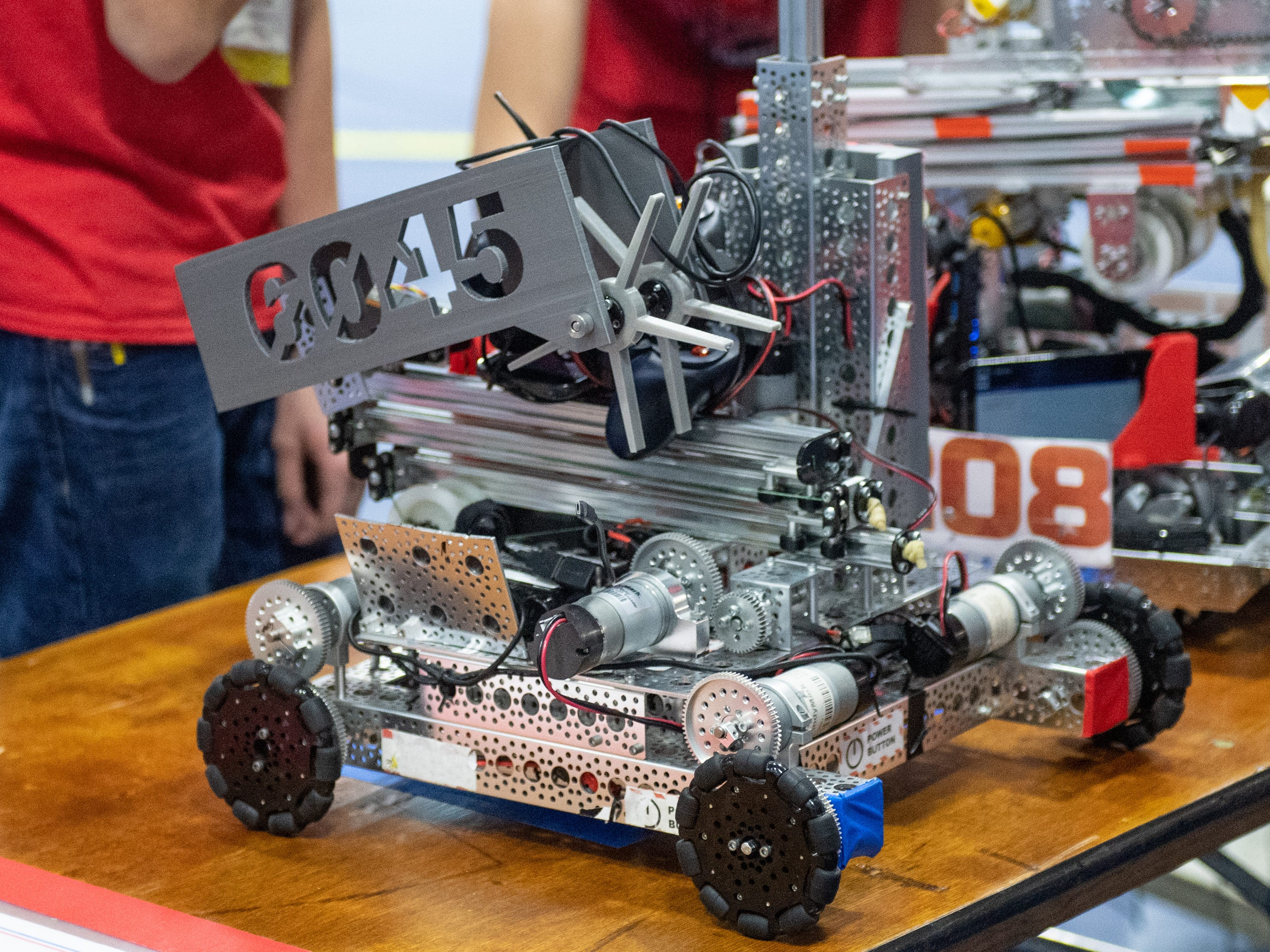 Teams are judged on sportsmanship, performance of their robots, completion of tasks, and a variety of other criteria during the First Tech Challenge robotics competition, February 2, 2019.