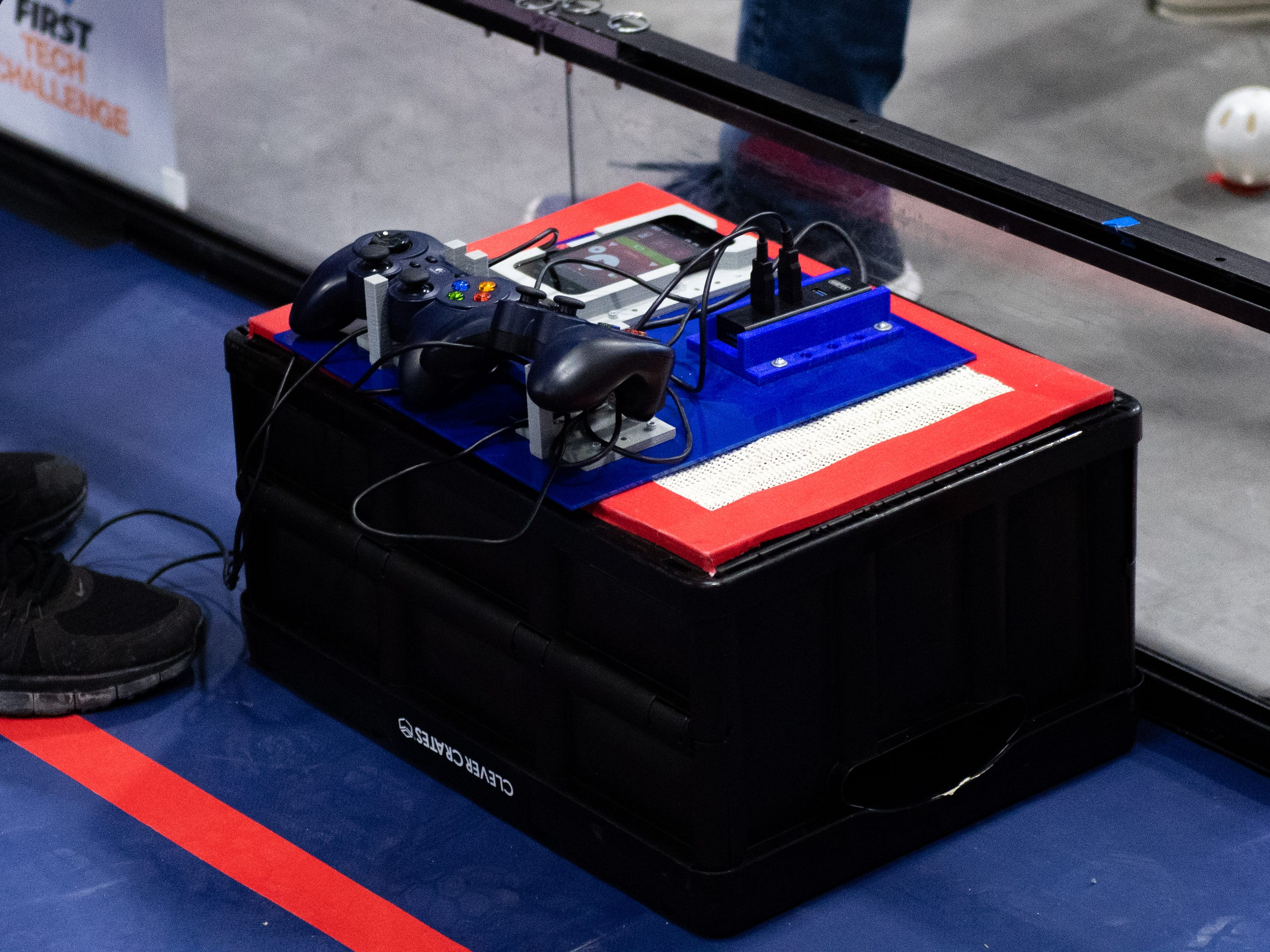 Initially the robots run autonomously, but then students take control of them  after a few seconds during the First Tech Challenge robotics competition at Penn State York, February 2, 2019.