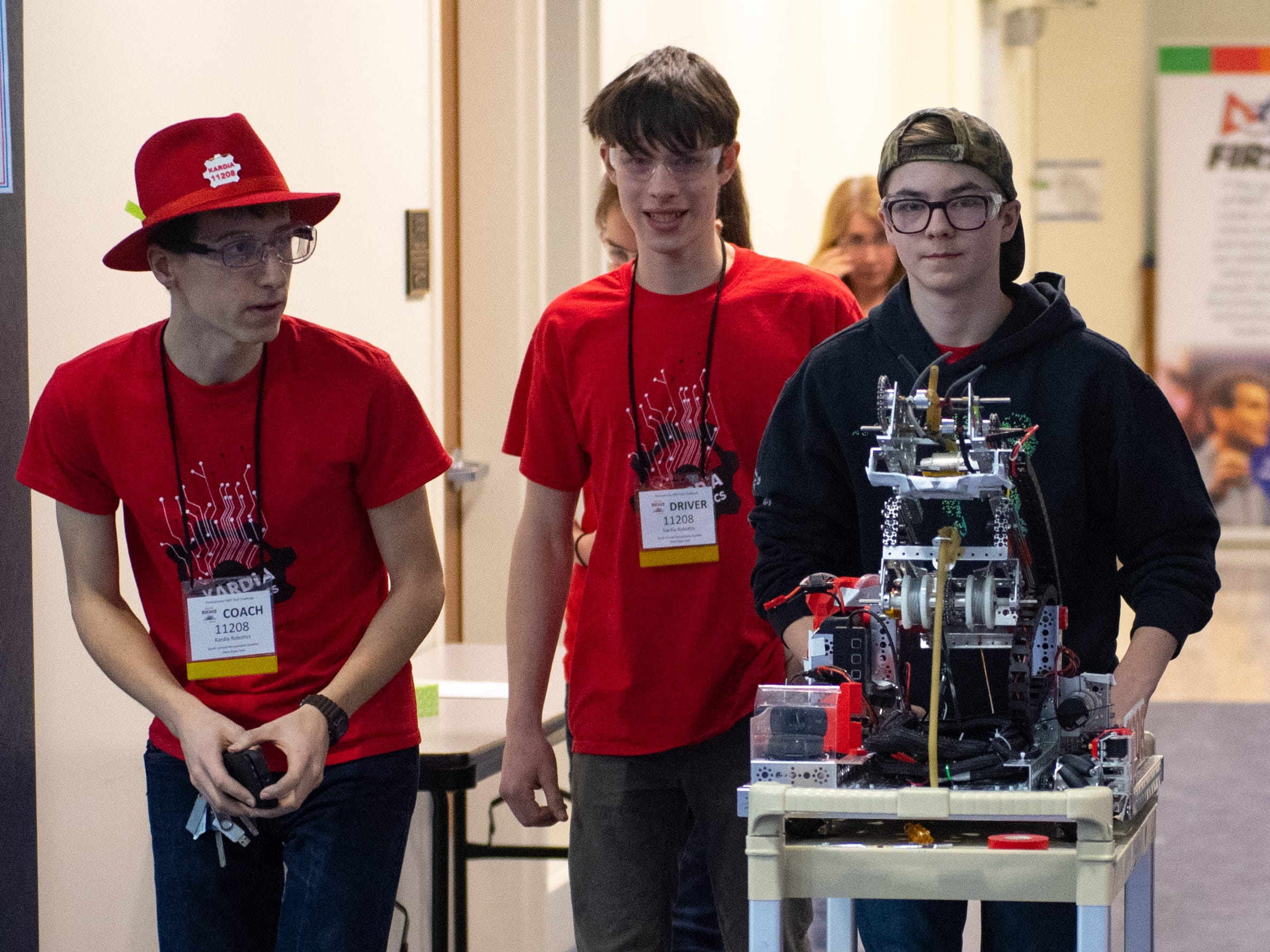 As the First Tech Challenge robotics competition goes on, more and more teams wheel their robots out to the main floor, February 2, 2019.
