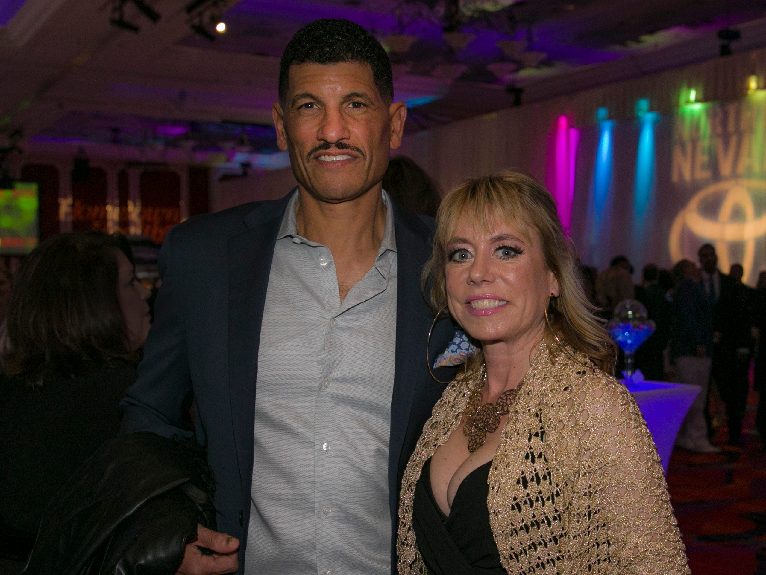 Nevada head football coach Jay Norvell and wife Kim during the 10th Annual Blue Tie Ball at the Peppermill Resort Spa Casino in Reno, NV on Friday night, Feb. 1, 2019.