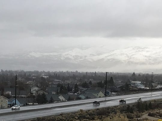 A view of the snow-capped mountains from North McCarran Boulevard taken on Feb. 2, 2019.