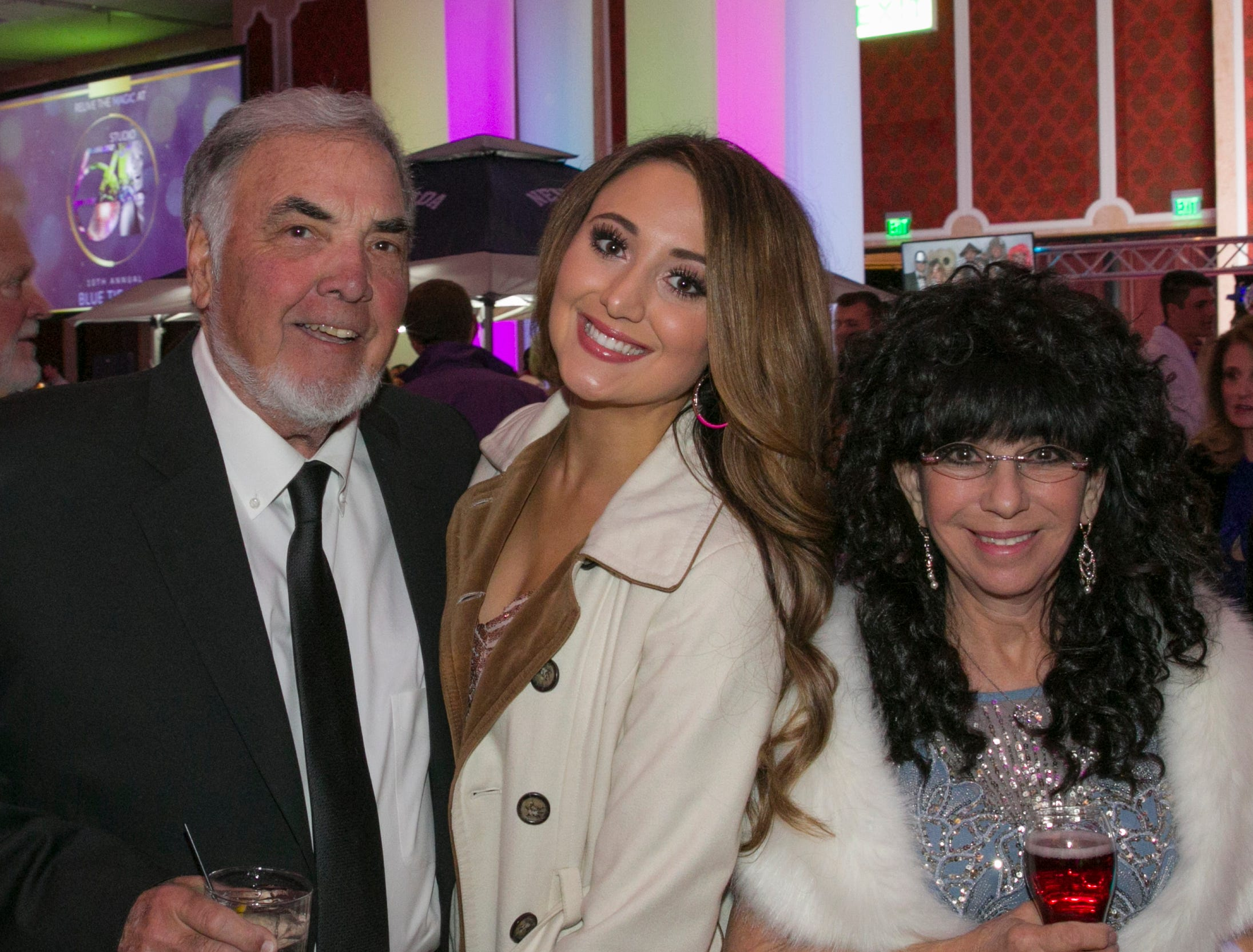 Dick and Mary Campagni with daughter Ashton Milligan during the 10th Annual Blue Tie Ball at the Peppermill Resort Spa Casino in Reno, NV on Friday night, Feb. 1, 2019.