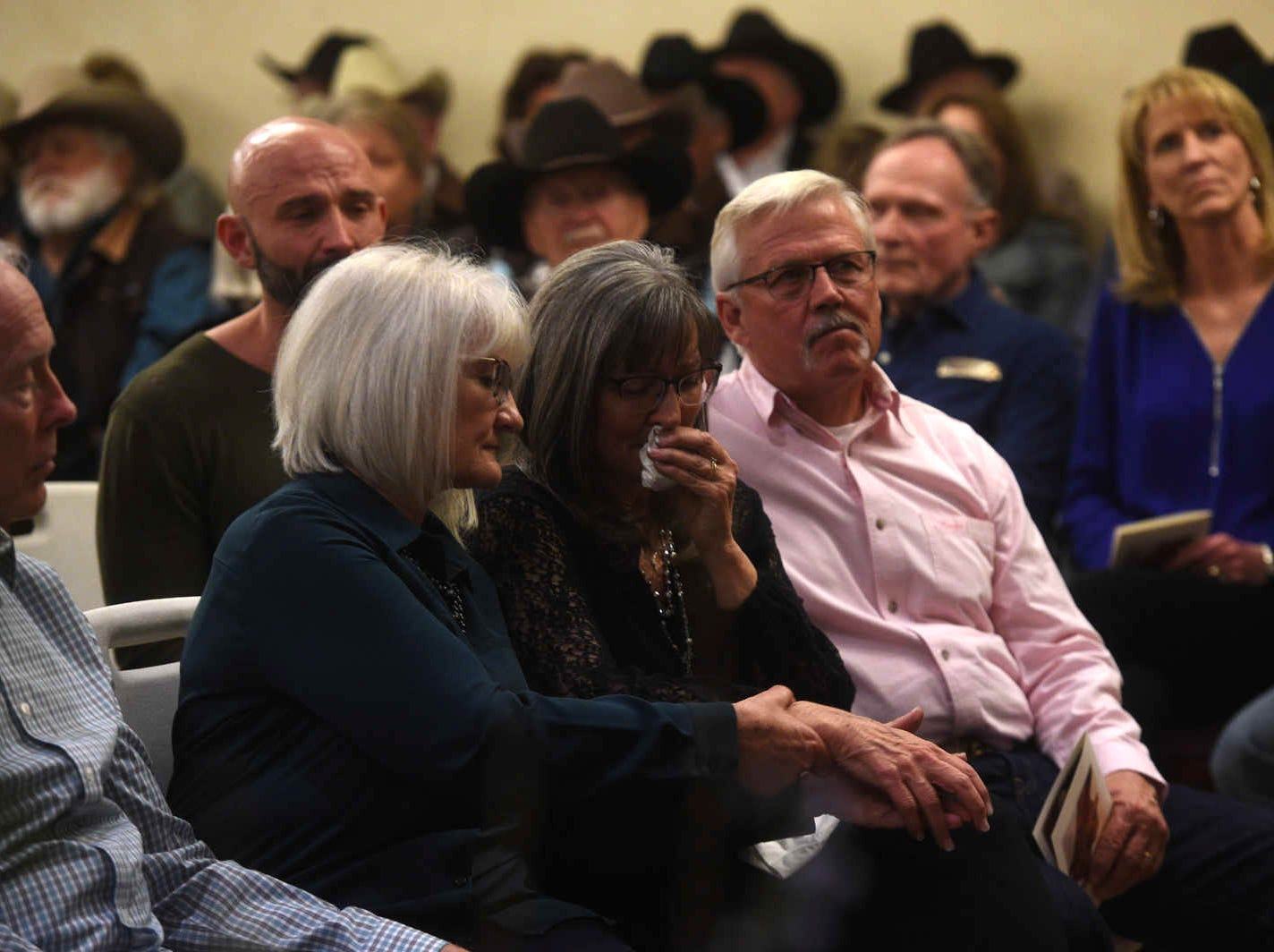 Friends and family gather to pay their respects during a memorial service for Jerry and Sherri David at the Reno Elks Lodge on Feb. 1, 2019.