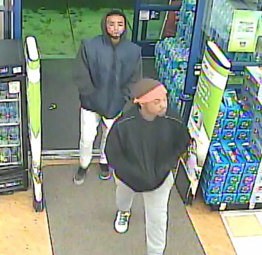 Surveillance shows two robbery suspects on Friday, Feb. 1, 2019 walking into a Rite Aid on East Cypress Avenue in Redding.