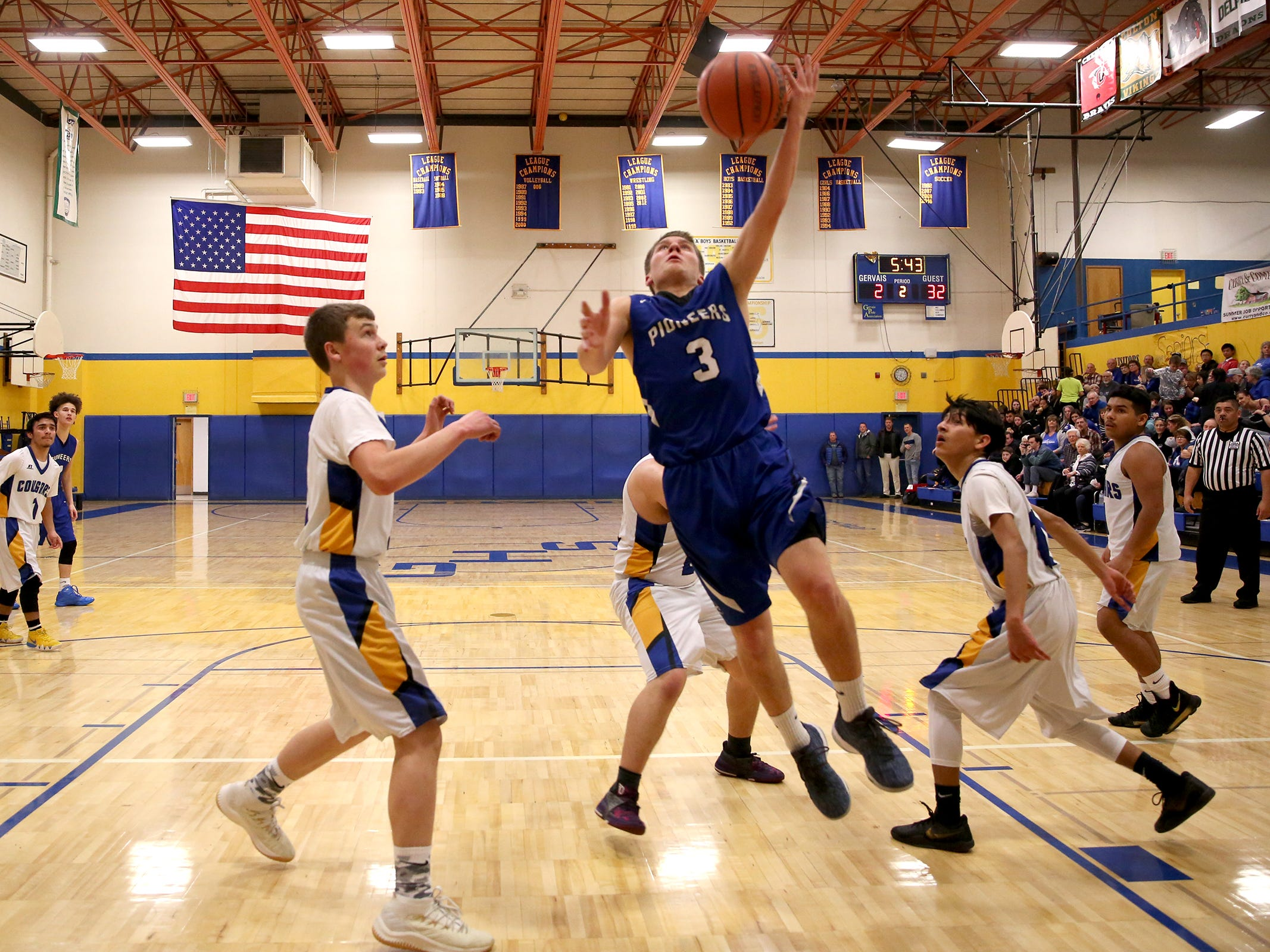 Western Christian's Jayce Roth (3) goes up in the paint during the Gervais High School boys basketball game against Western Christian in Gervais on Friday, Feb. 1, 2019.