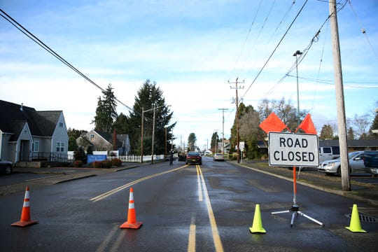 Road closures, following a house fire, around Washington St. in Stayton on Saturday, Feb. 2, 2019.