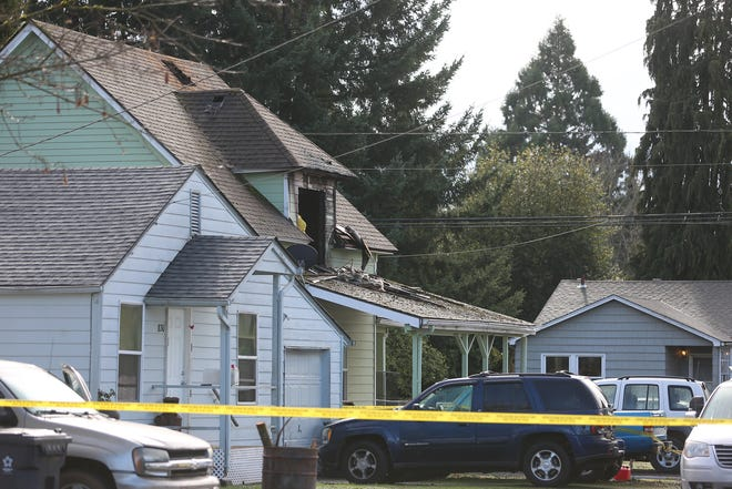 A house is shown damaged from a fire on the corner of Washington St. and Birch Ave. in Stayton on Saturday, Feb. 2, 2019.