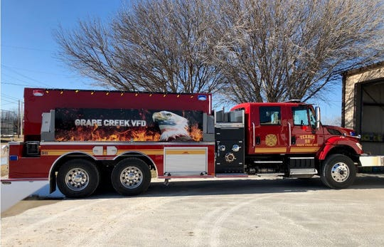 Grape Creek VFD received a Rural Volunteer Fire Department Assistance Program grant for $200,000 through the Texas A&M Forest Service, which helped them purchase a brand-new International tender truck with a 3,000 water tank, and a drop tank.