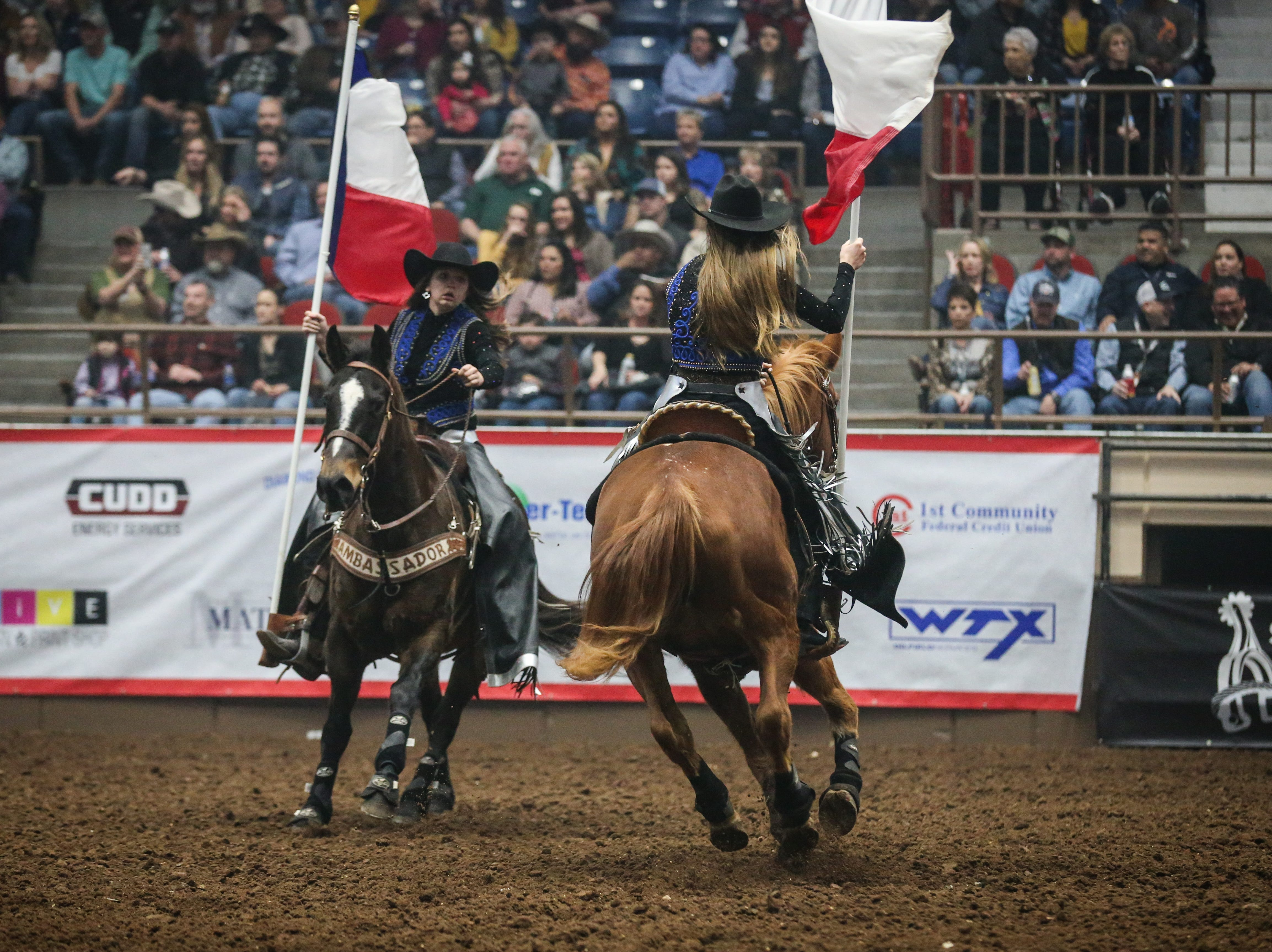 The San Angelo Ambassadors ride in the arena during the 1st performance of the San Angelo Stock Show & Rodeo Friday, Feb. 1, 2019, at Foster Communications Coliseum.