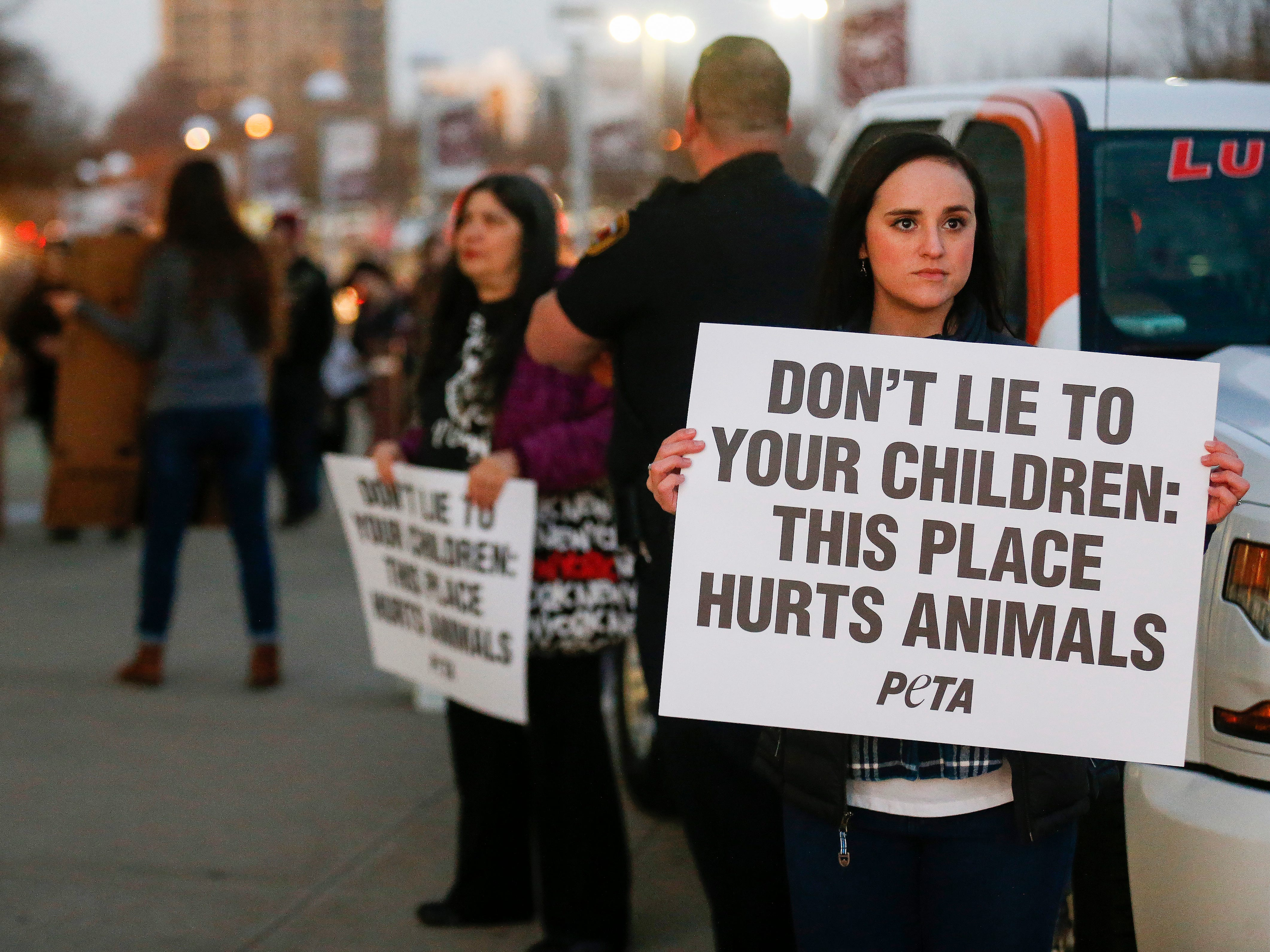 Animal rights activist Beverly Furstenberg protests in front of JQH Arena against the use of animals in the Carden Circus on Friday, Feb. 1, 2019.