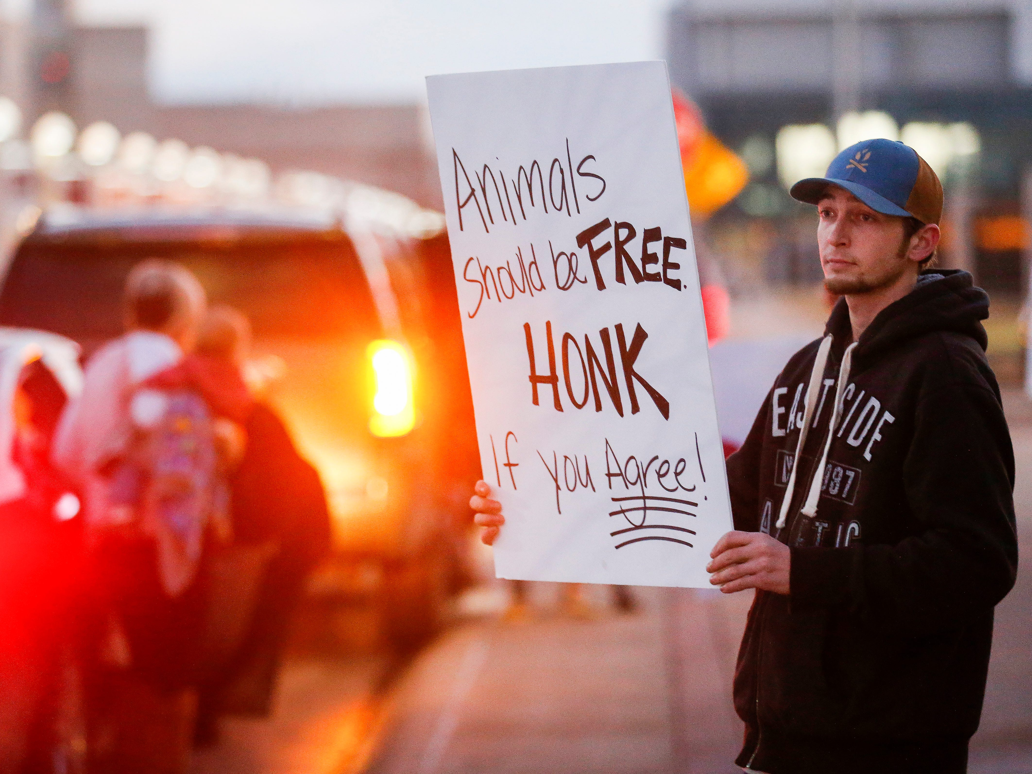 Animal rights activist Mike Sterling protests in front of JQH Arena against the use of animals in the Carden Circus on Friday, Feb. 1, 2019.
