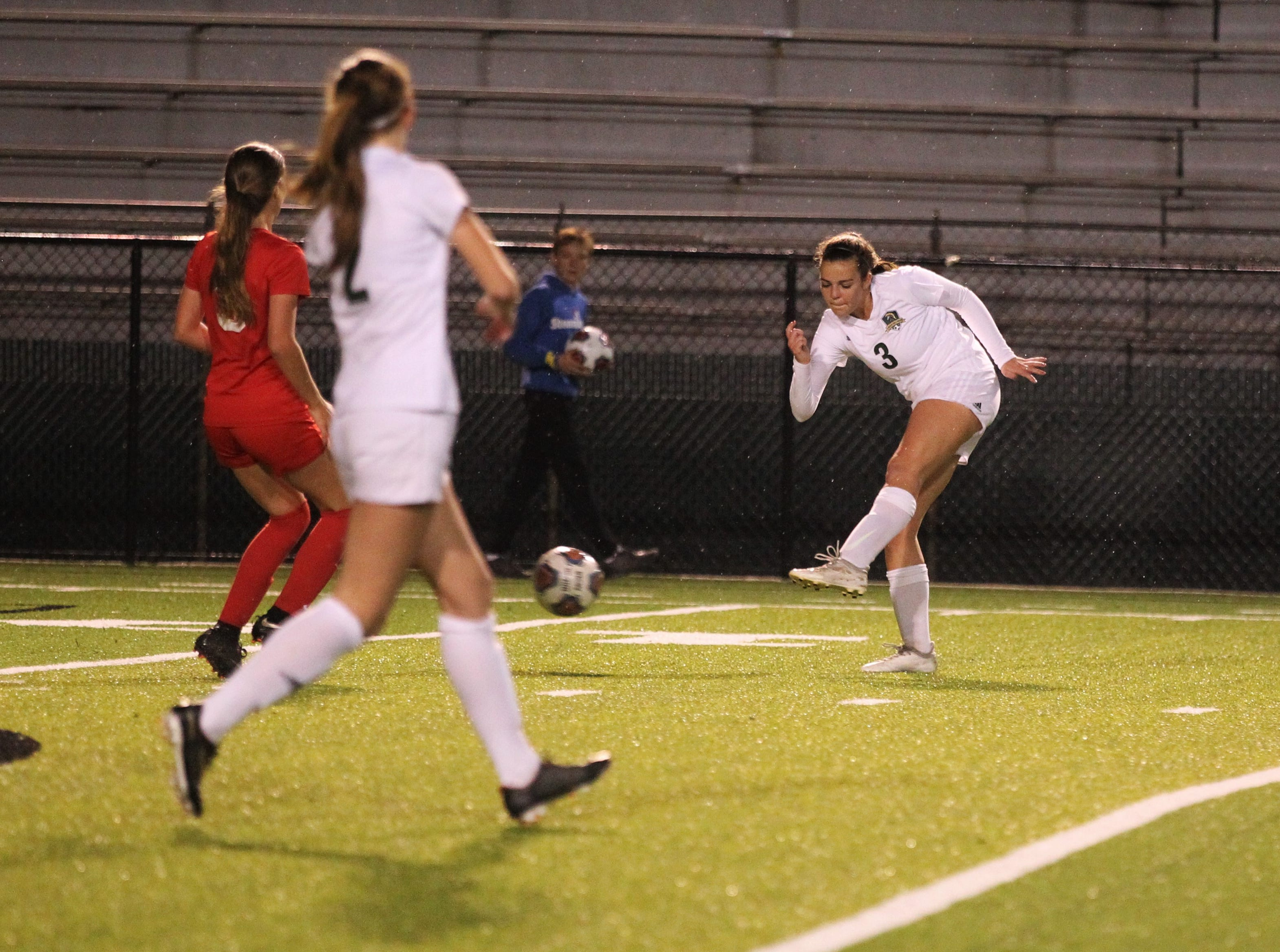 Lincoln's Kailey Williams takes a shot as Leon's girls soccer team beat Lincoln in the District 2-4A championship on Feb. 1, 2019.