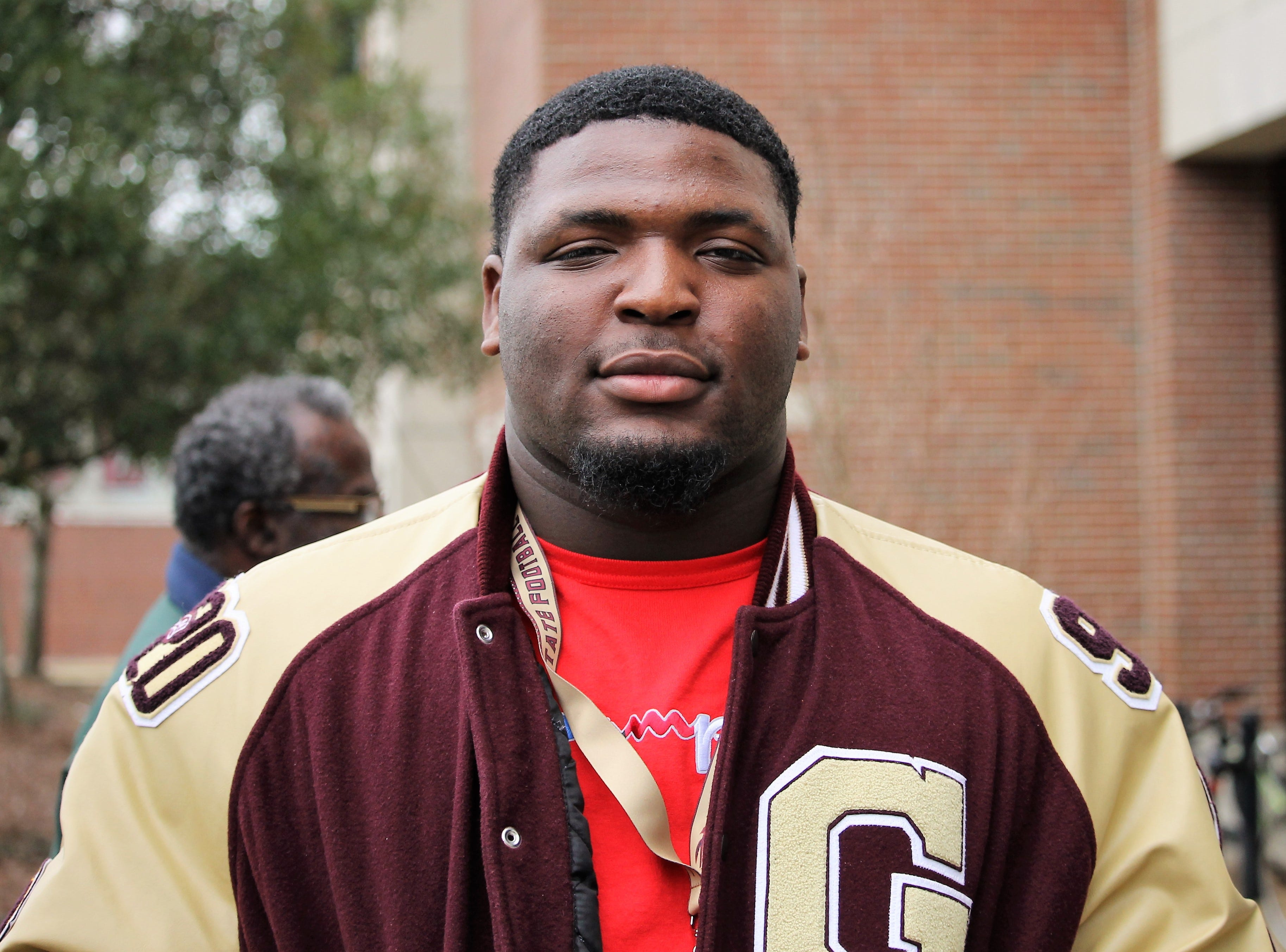 2020 five-star defensive tackle McKinnley Jackson on a visit to FSU for junior day on Feb. 2, 2019.