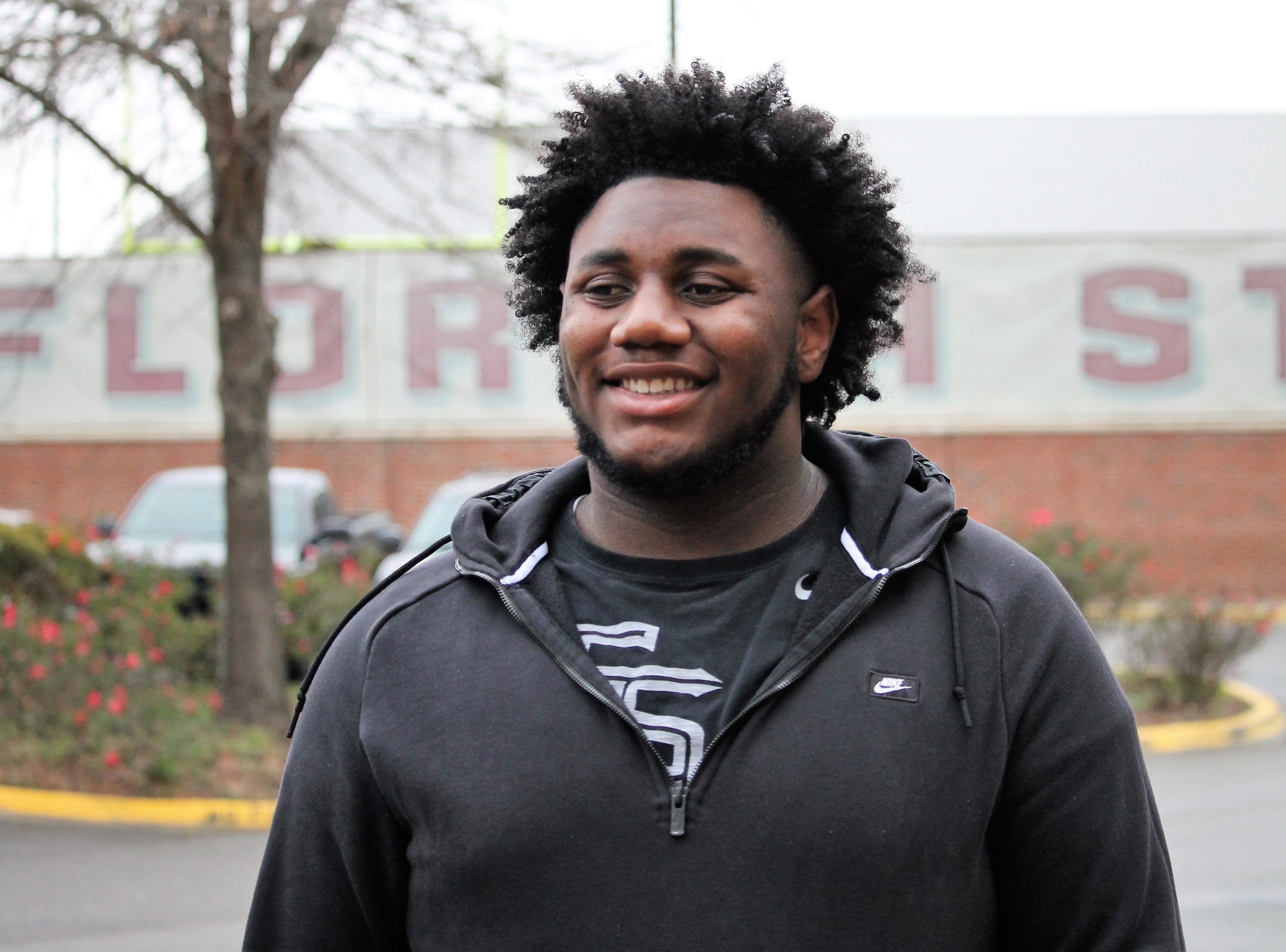 2020 three-star offensive tackle Richie Leonard at FSU junior day on Feb. 2, 2019
