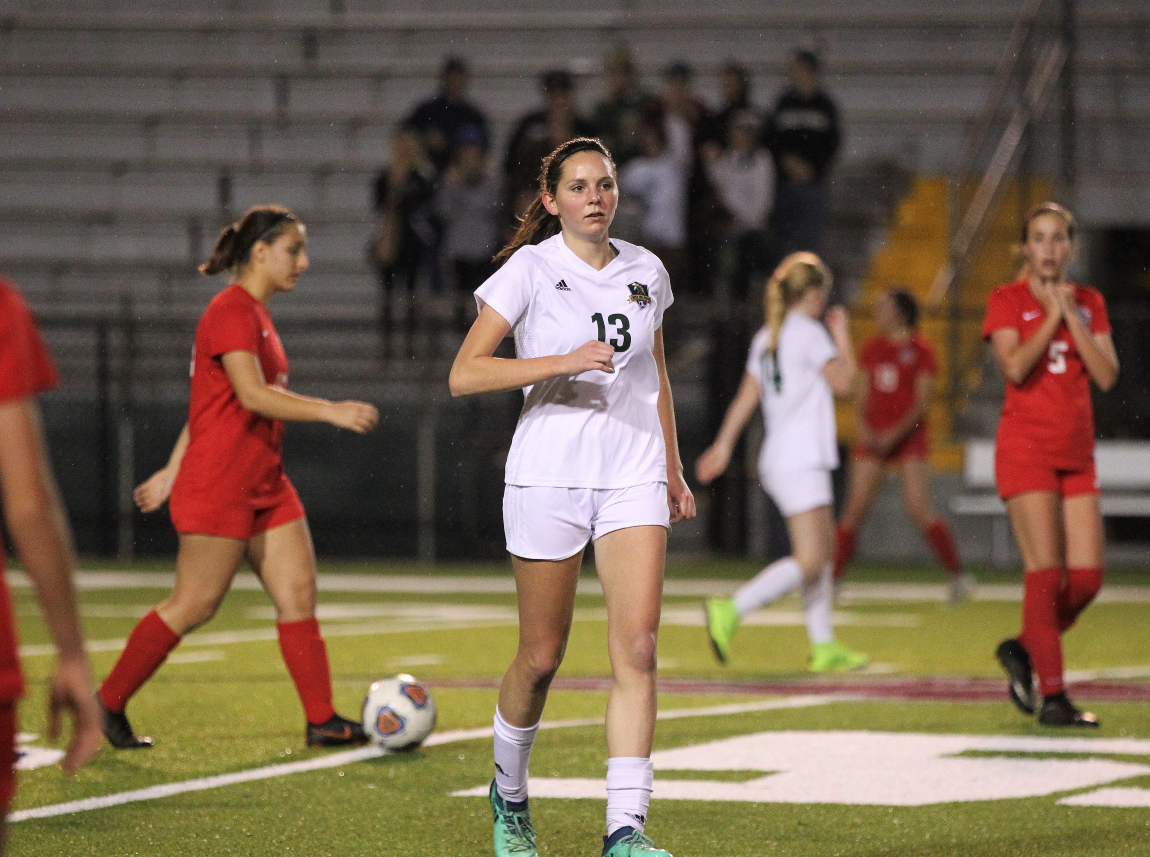 Lincoln sophomore forward Olivia Rehwinkel was credited with a first-half goal, but Leon's girls soccer team rallied to beat Lincoln 2-1 in the District 2-4A championship on Feb. 1, 2019.