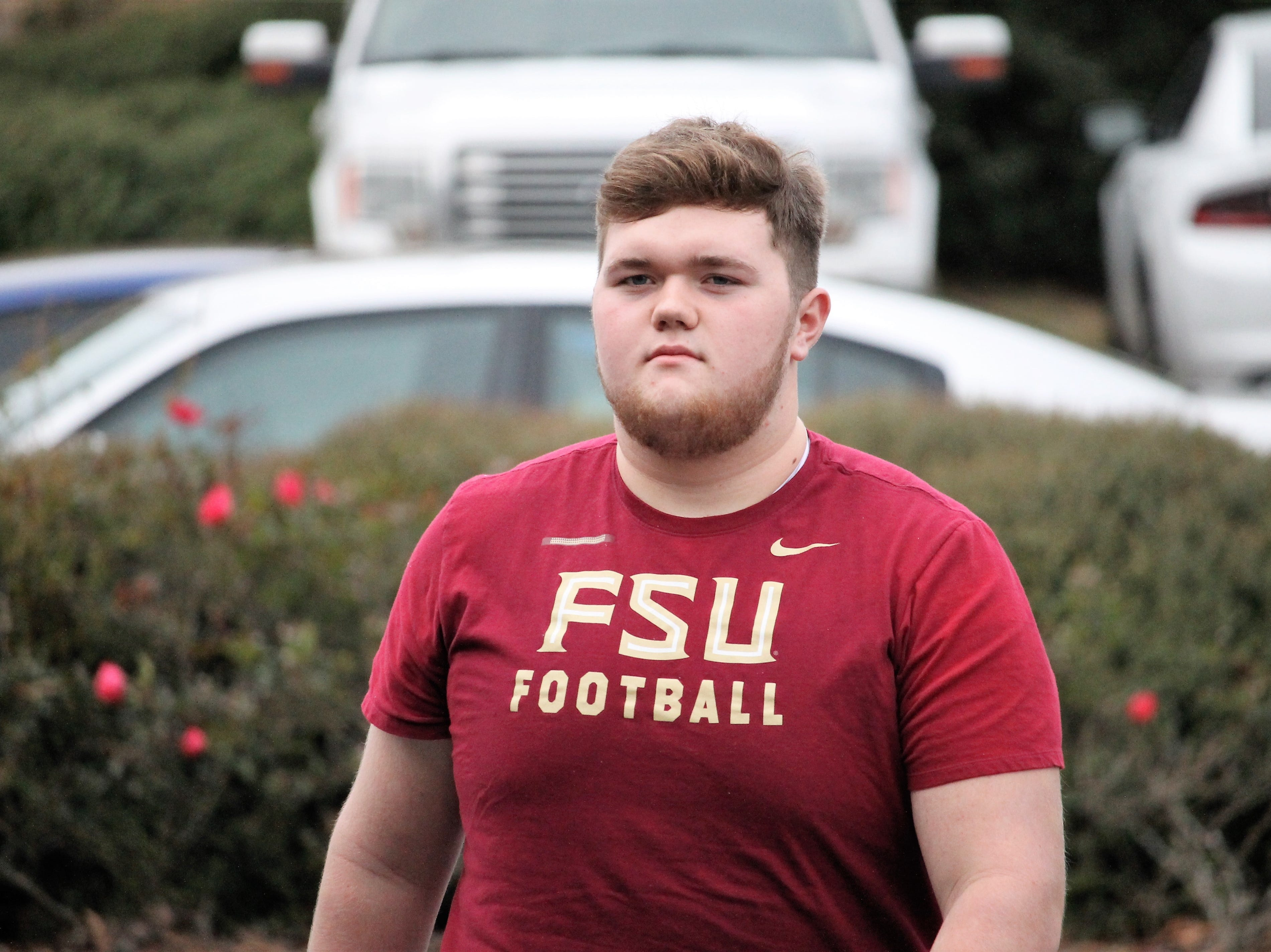 2022 offensive lineman Lucas Taylor at FSU junior day on Feb. 2, 2019