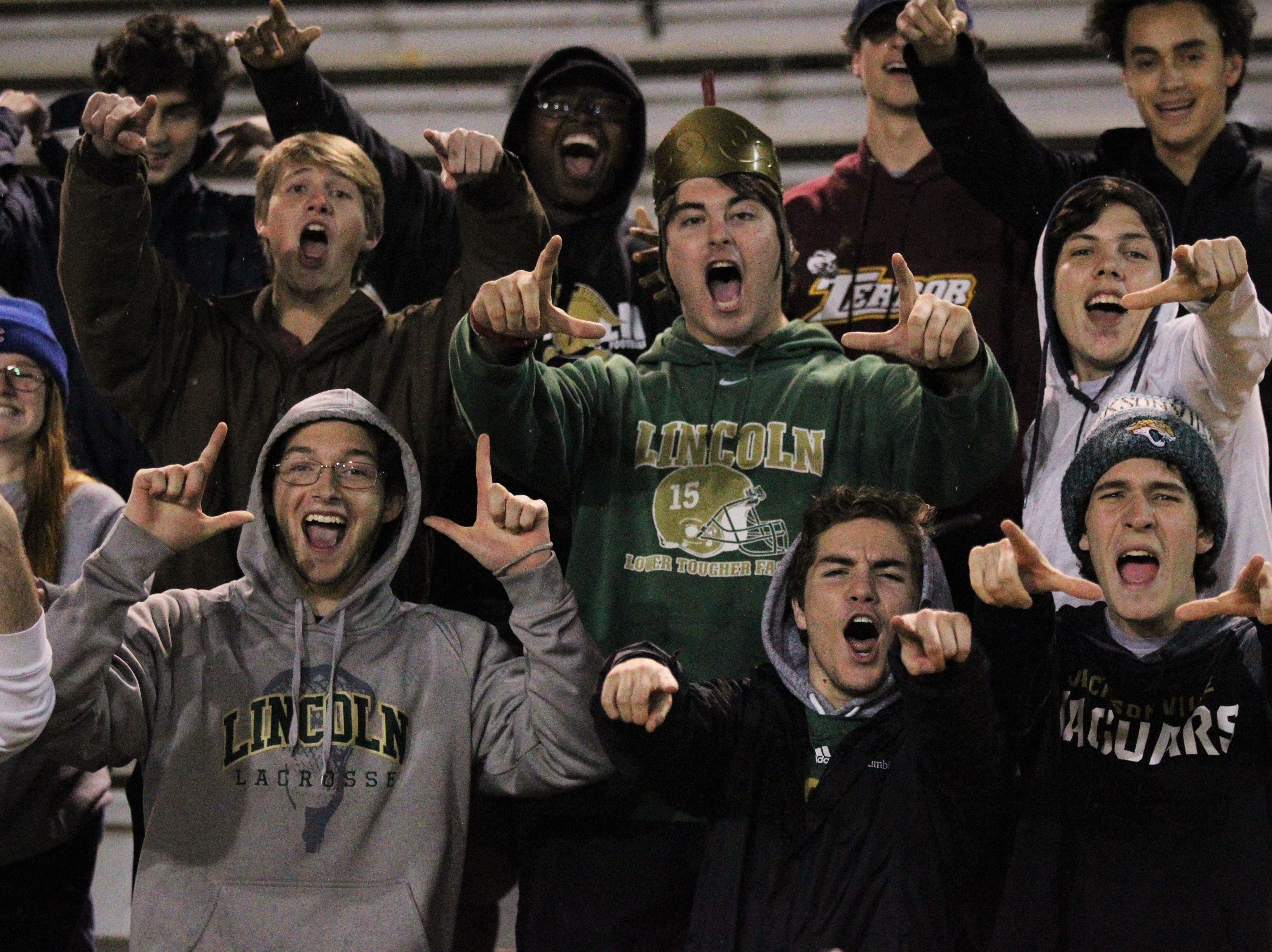Lincoln students came out to support their girls soccer team, but Leon beat Lincoln in the District 2-4A championship at Gene Cox Stadium on Feb. 1, 2019.