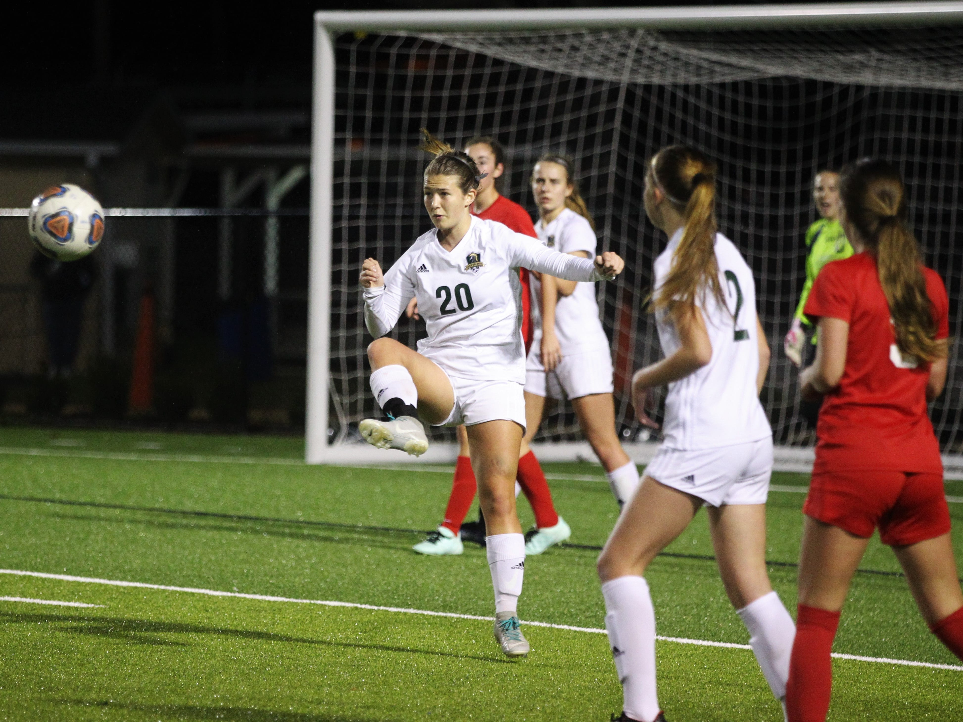 Lincoln defender Katherine Whichel clears a ball out of the box as Leon's girls soccer team beat Lincoln in the District 2-4A championship on Feb. 1, 2019.
