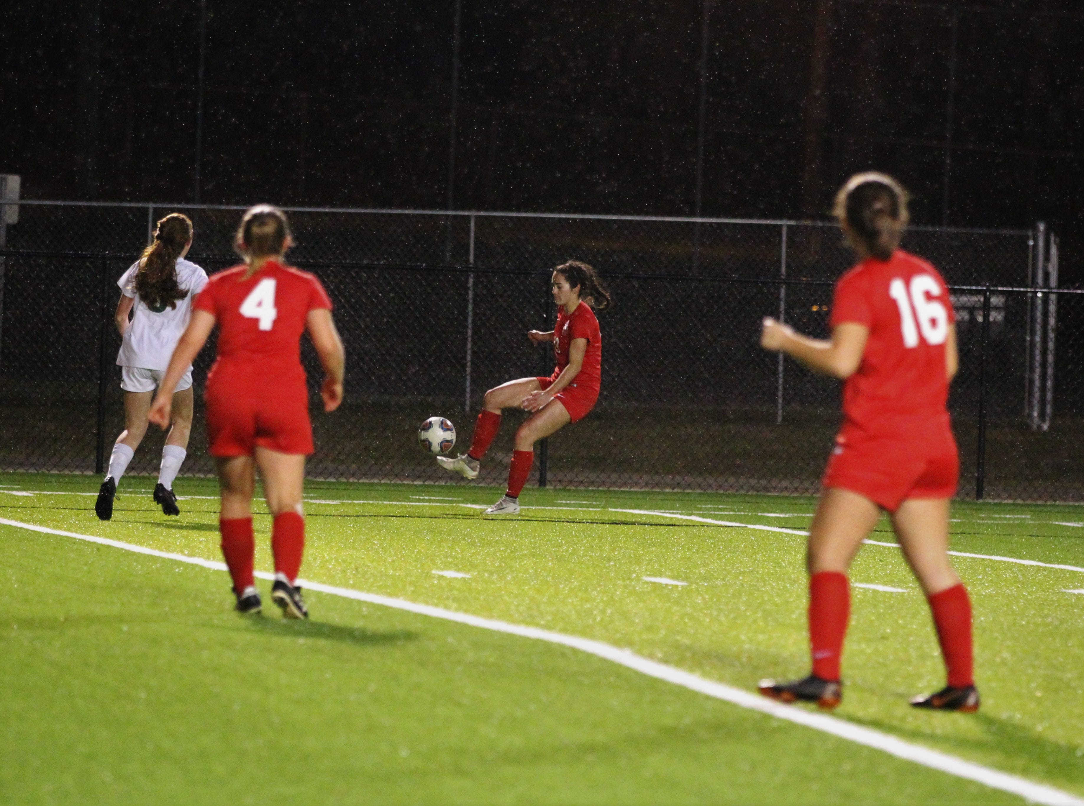 Leon's Liney Brantley plays across into the box as Leon's girls soccer team beat Lincoln in the District 2-4A championship on Feb. 1, 2019.