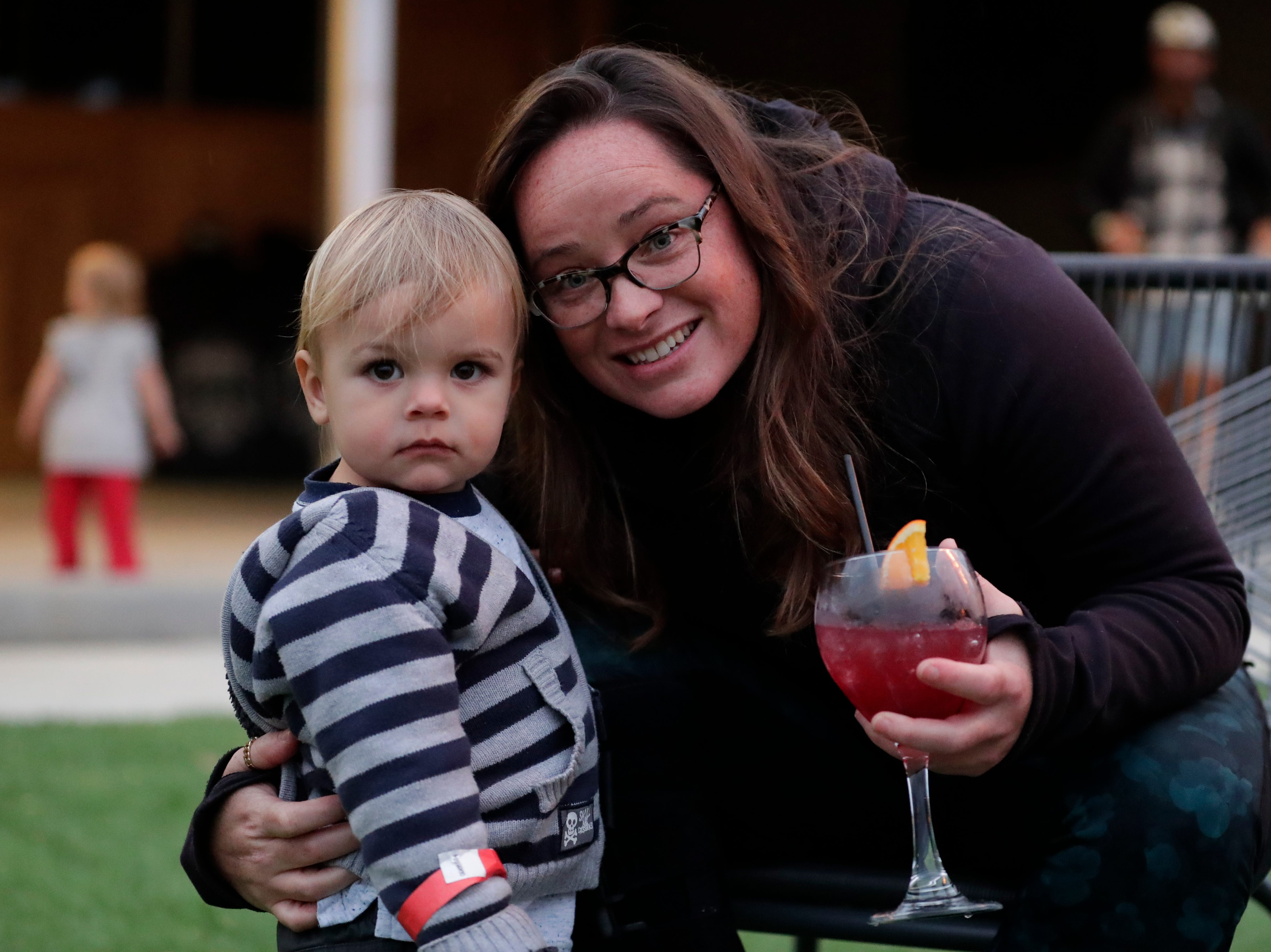 Amanda Coble poses for a photo with her nephew, Wilder Coble in the outdoor area of the new Proof Brewery during the brewery's soft opening, Friday, Feb. 1, 2019.