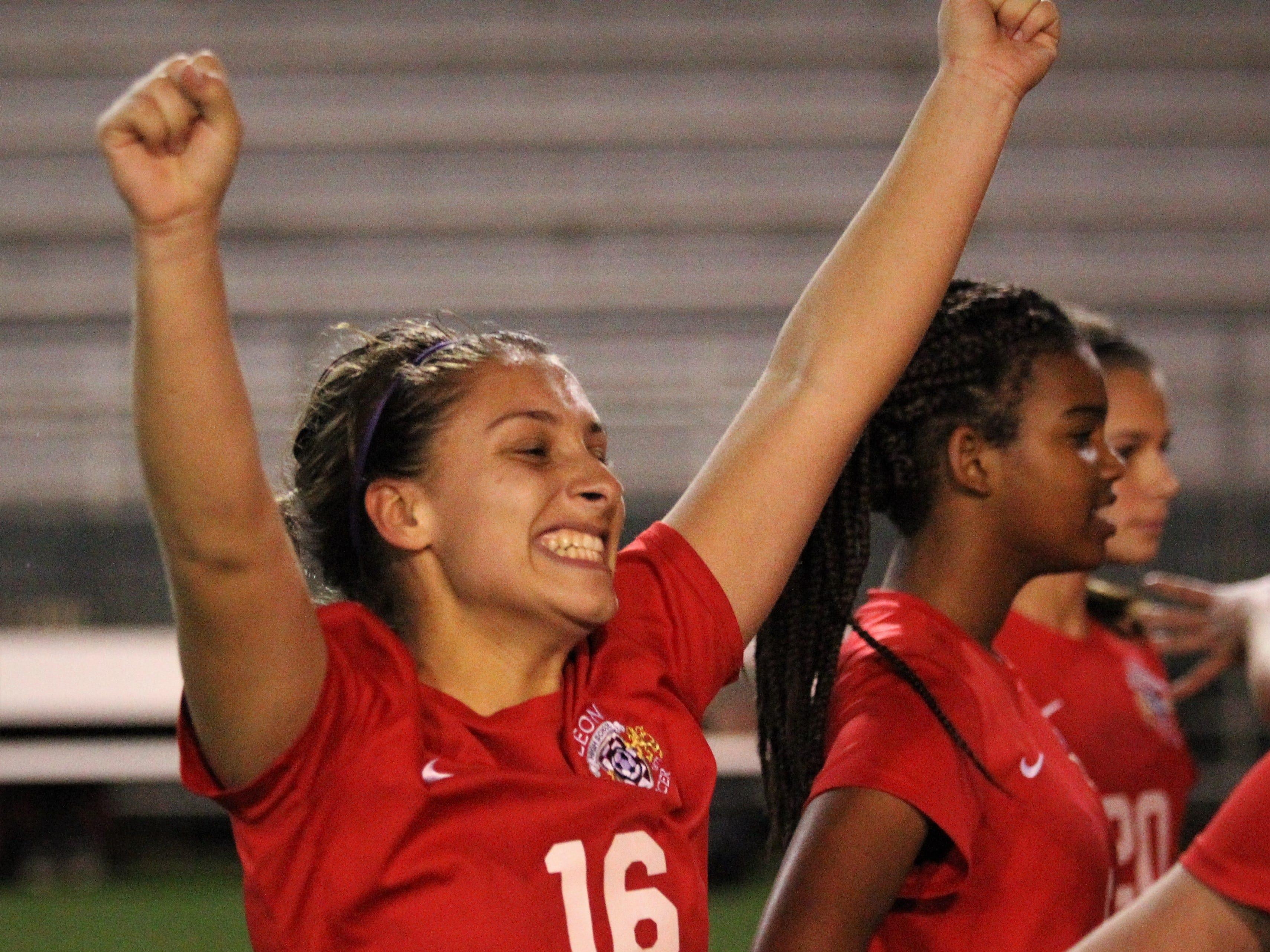 Leon senior midfielder Eden Kirn, who scored the game-winning goal, celebrates as Leon's girls soccer team beat Lincoln 2-1 in the District 2-4A championship at Gene Cox Stadium on Feb. 1, 2019.