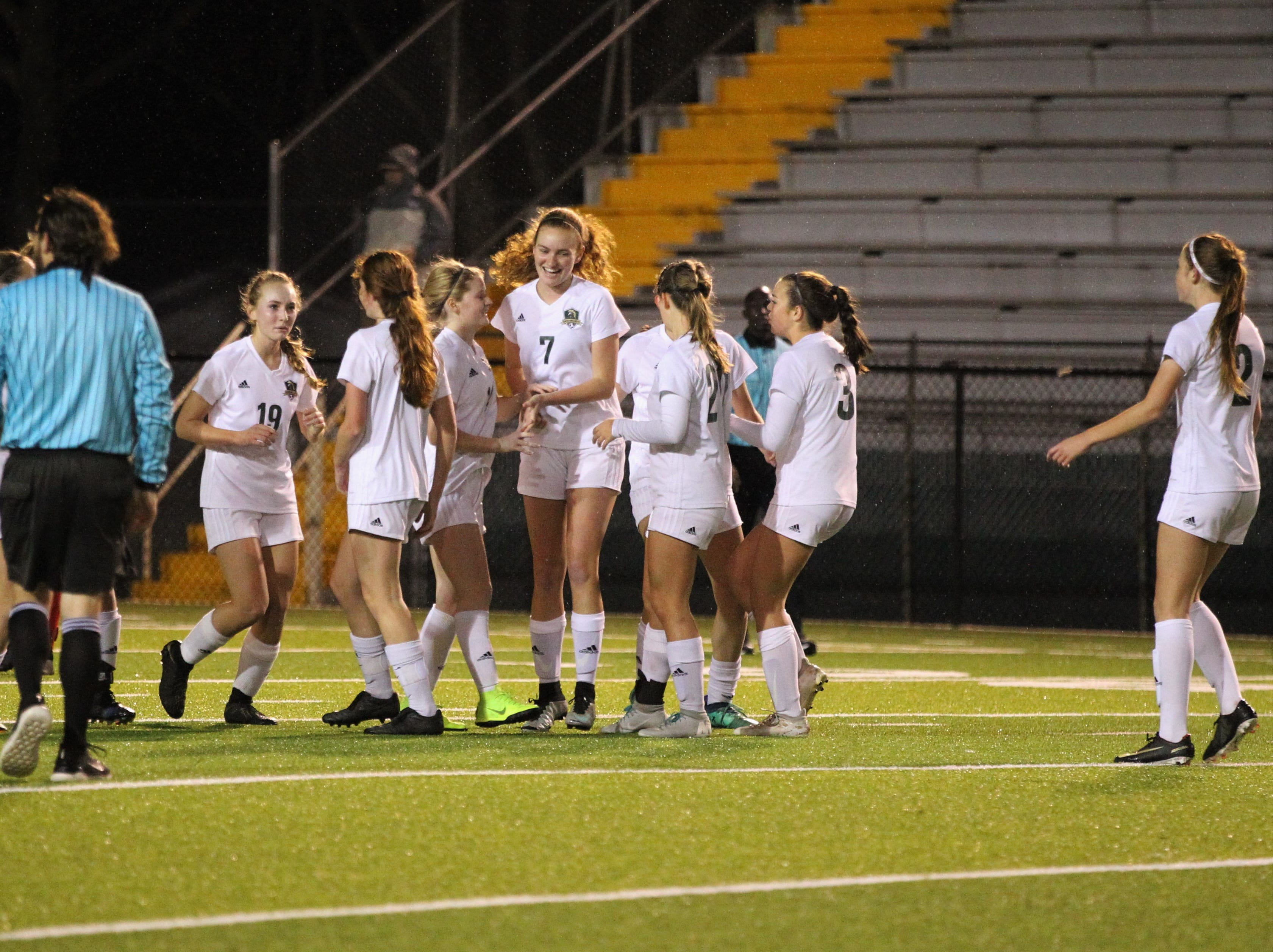 Lincoln's girls soccer team celebrates an early, unexpected fluke goal, but Leon rallied to beat Lincoln in the District 2-4A championship on Feb. 1, 2019.