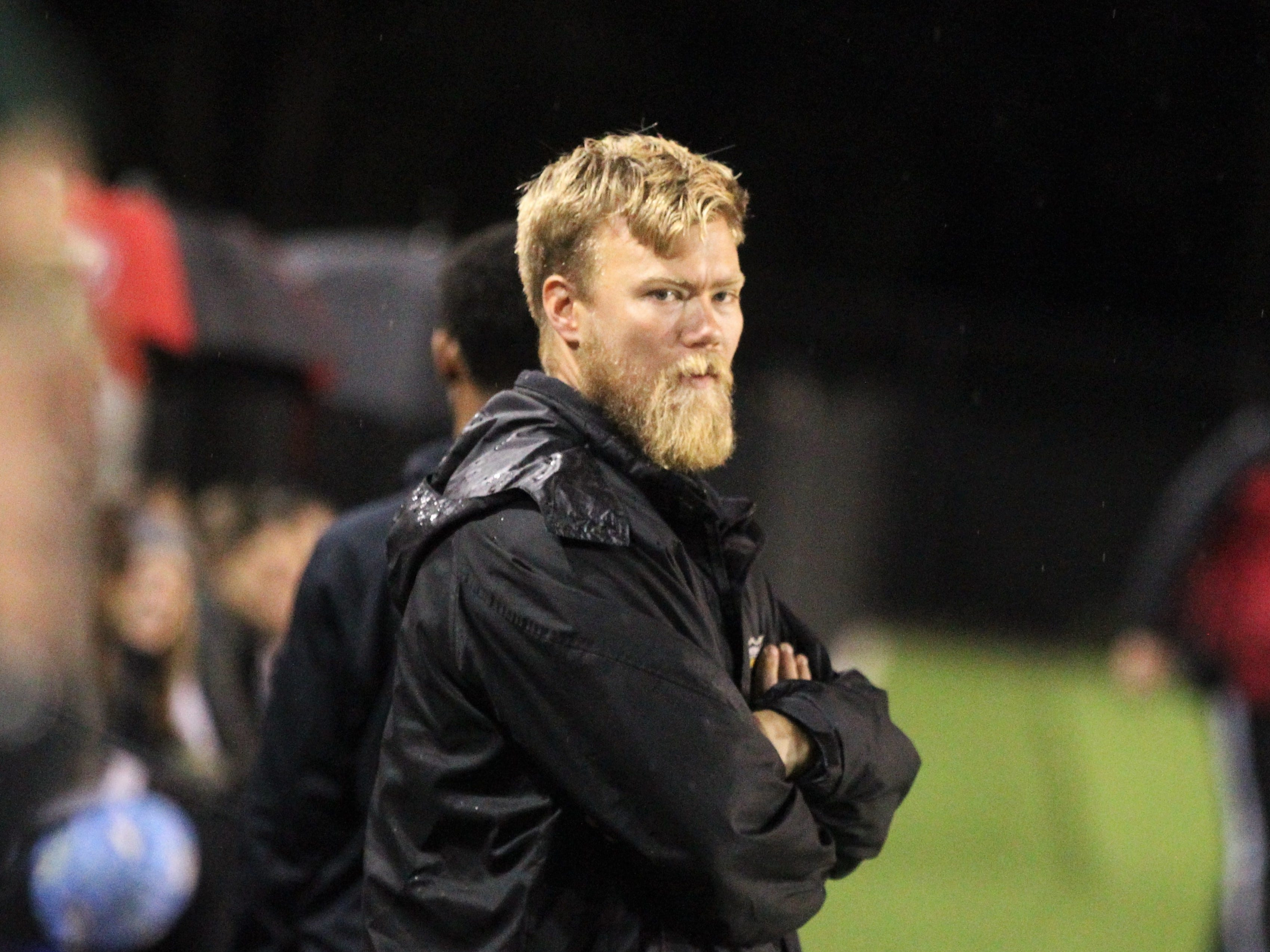 Lincoln girls soccer coach Jono Williams watches his team as Leon's girls soccer team beat Lincoln in the District 2-4A championship on Feb. 1, 2019.