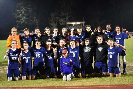 Maclay's boys soccer team captured a District 1-1A title with a 7-0 victory over St. John Paul II on Friday night.