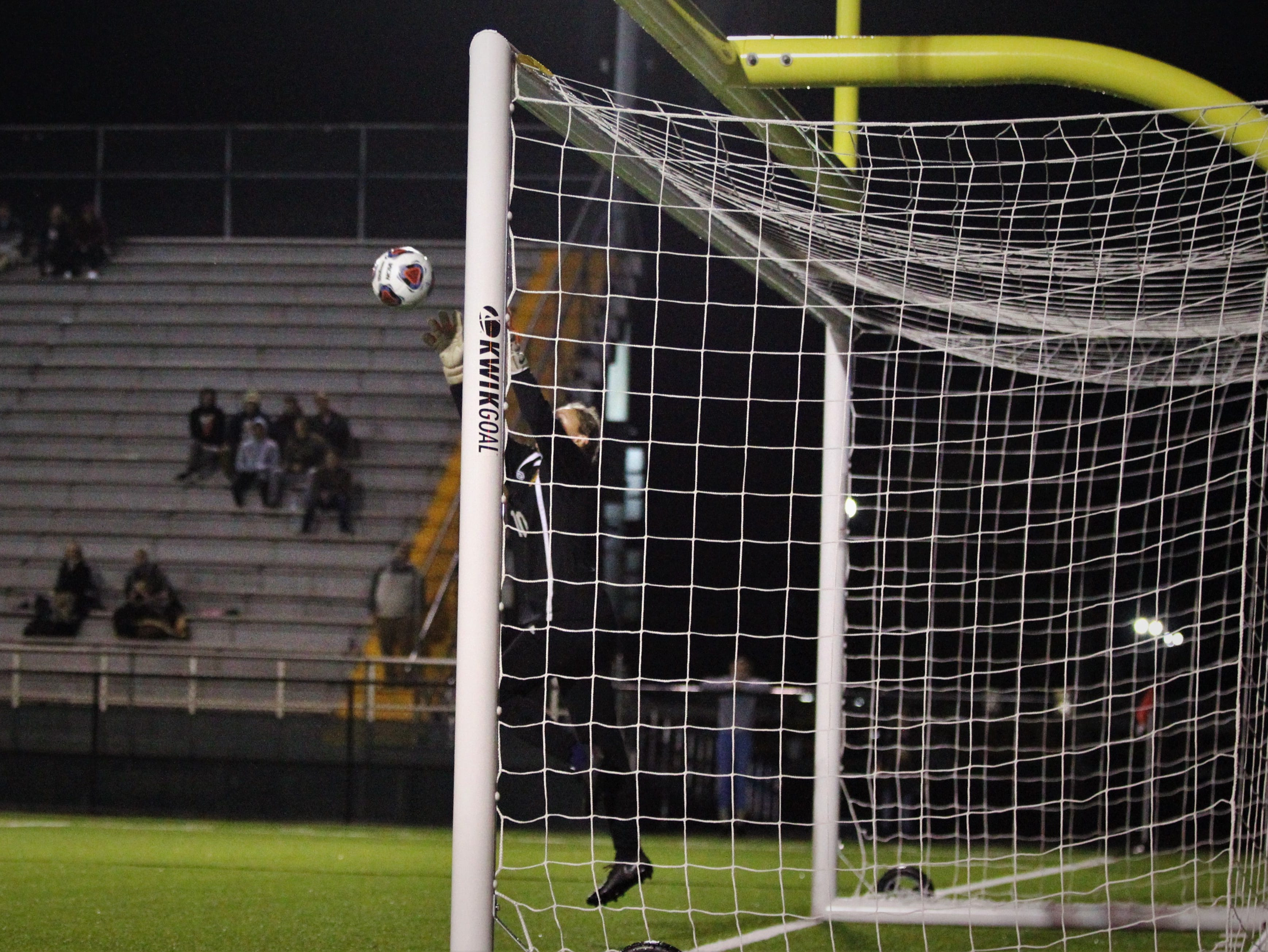 Leon keeper Regan Hermeling makes a a save in the final minutes as Leon's girls soccer team beat Lincoln 2-1 in the District 2-4A championship at Gene Cox Stadium on Feb. 1, 2019.