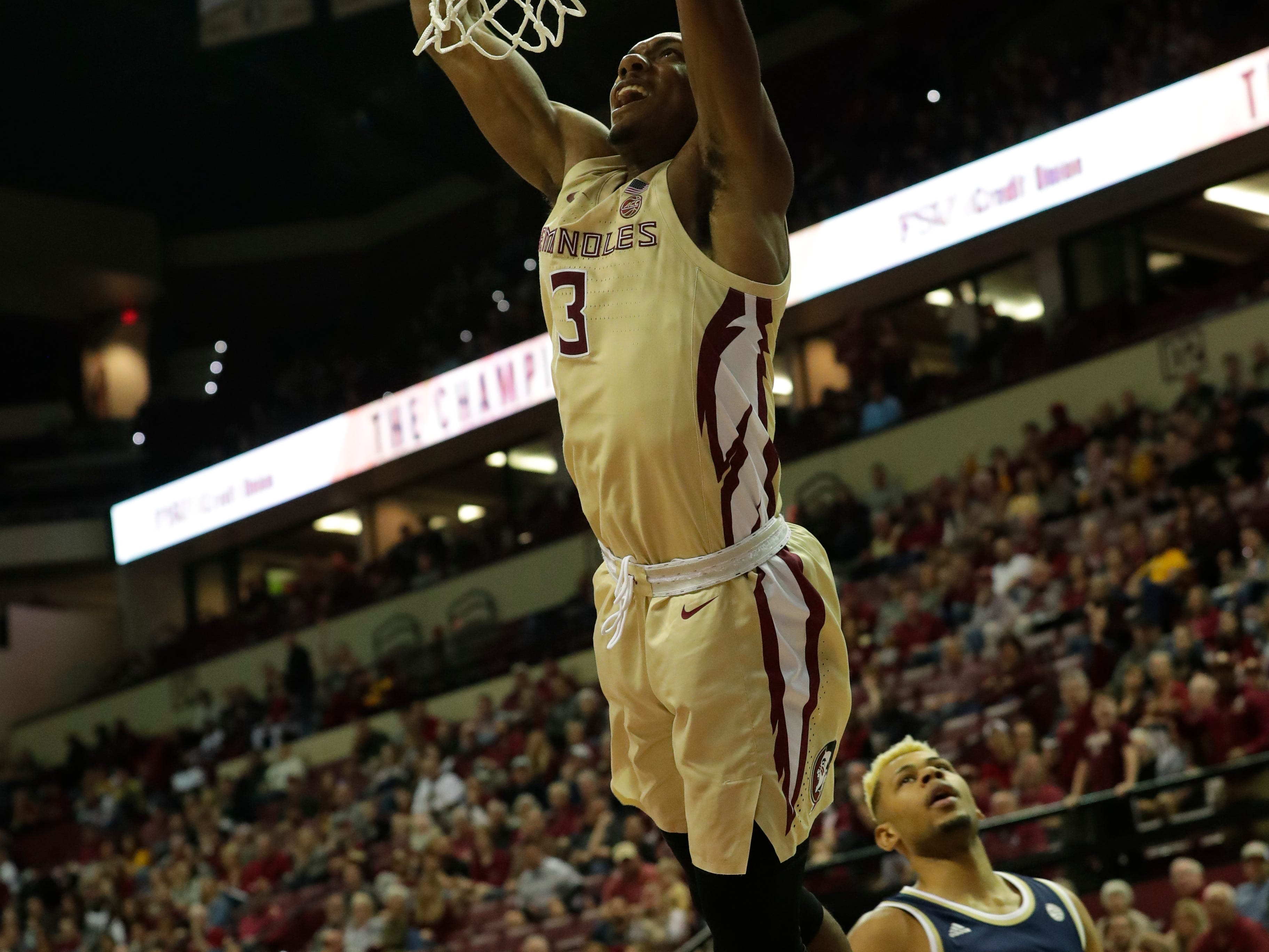 Florida State Seminoles guard Trent Forrest (3) dunks the ball on an open hoop. The Florida Sate Seminoles face off against the Georgia Tech Yellow Jackets at the Tucker Civic Center, Saturday, Feb. 2, 2019.