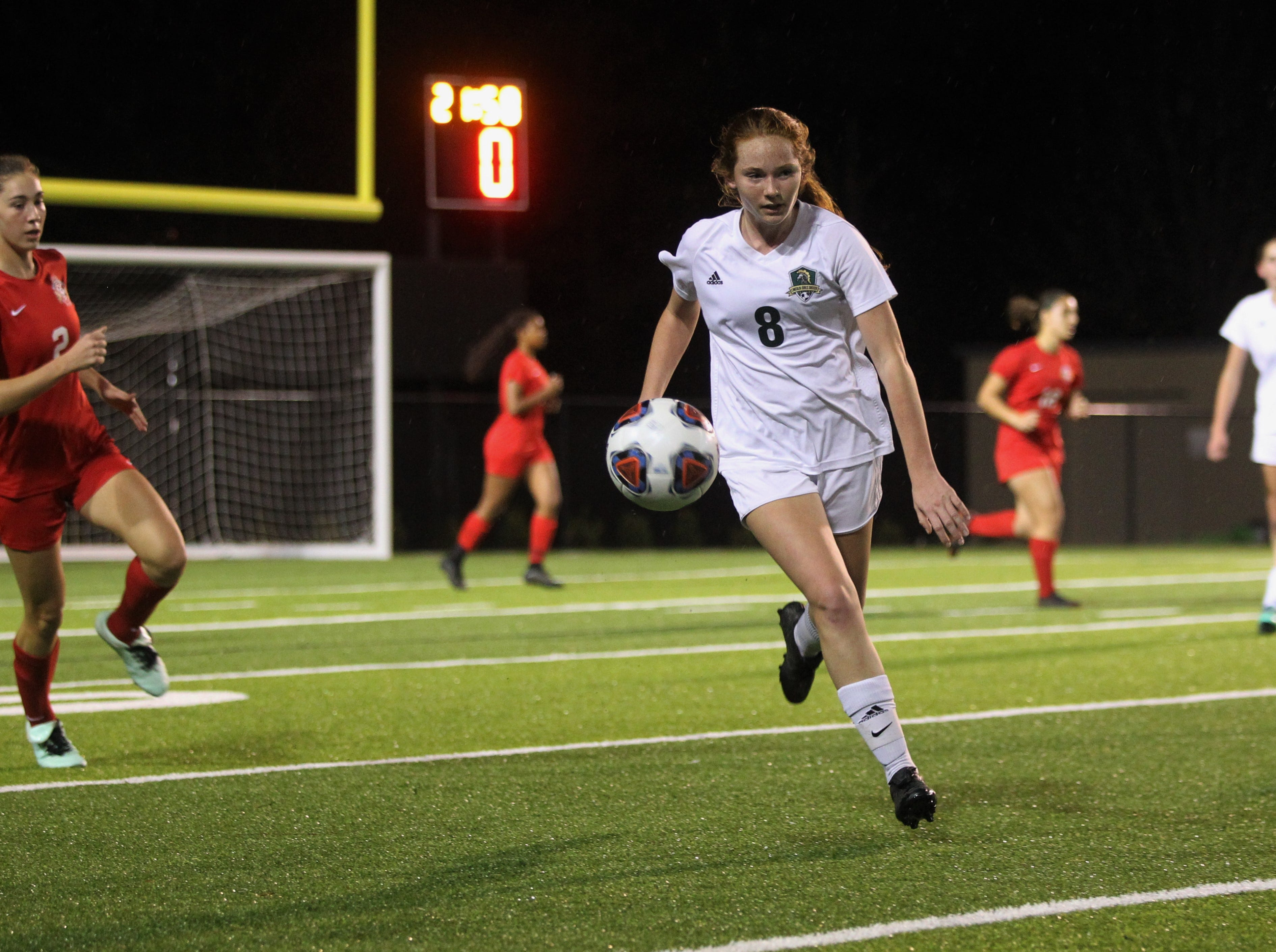 Lincoln's Rylee French chases down a pass as Leon's girls soccer team beat Lincoln in the District 2-4A championship on Feb. 1, 2019.