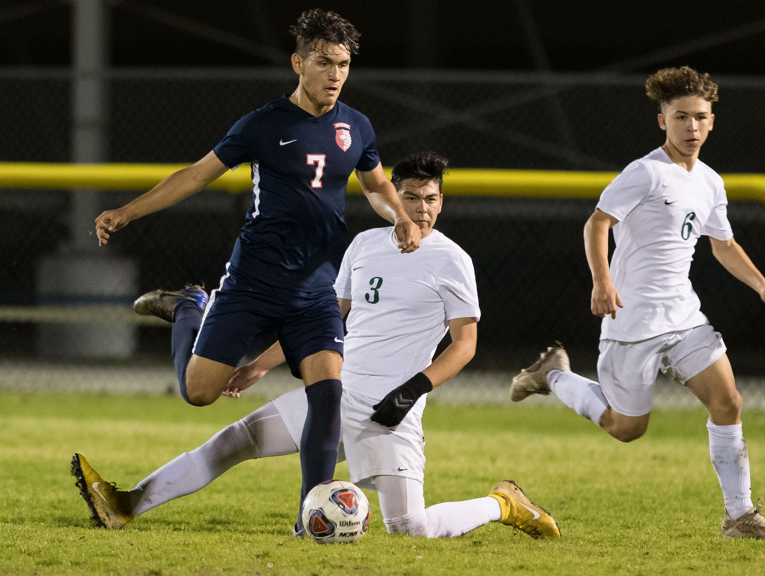 St. Lucie West Centennial plays against Jupiter during the high school boys soccer District 10-5A championship game Friday, Feb. 1, 2019, at South County Regional Stadium in Port St. Lucie.
